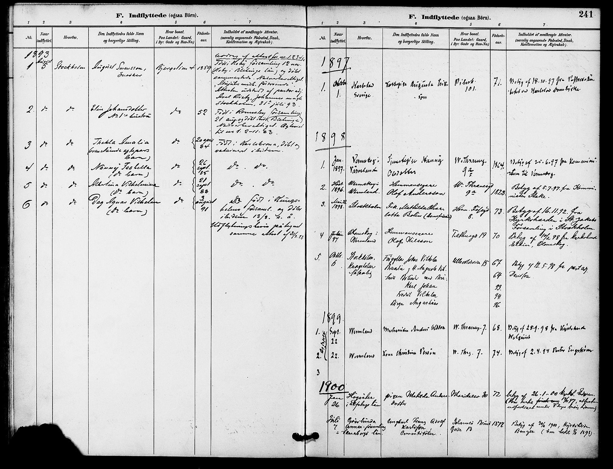 SAO, Gamle Aker prestekontor Kirkebøker, F/L0009: Ministerialbok nr. 9, 1890-1898, s. 241