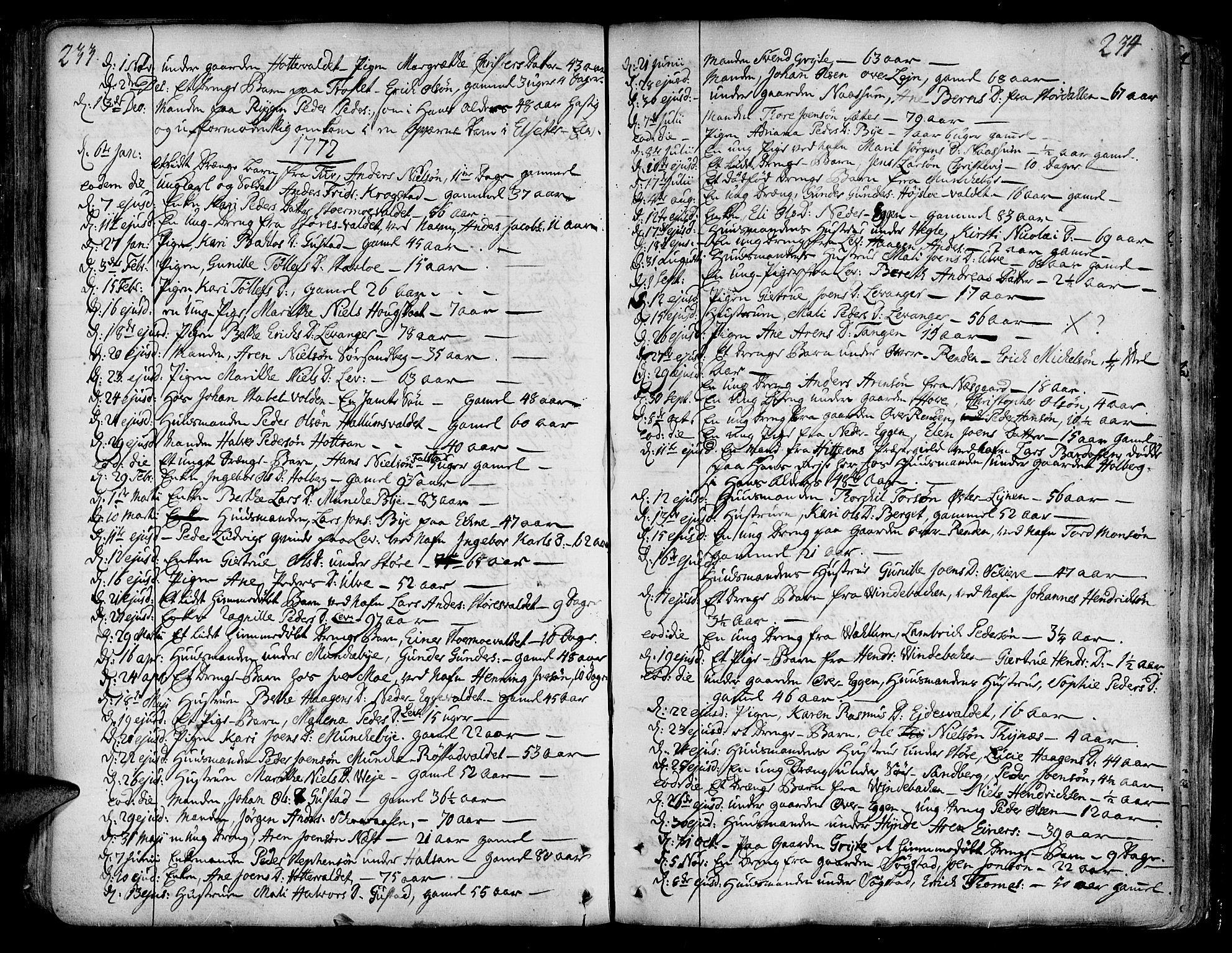 SAT, Ministerialprotokoller, klokkerbøker og fødselsregistre - Nord-Trøndelag, 717/L0141: Ministerialbok nr. 717A01, 1747-1803, s. 233-234