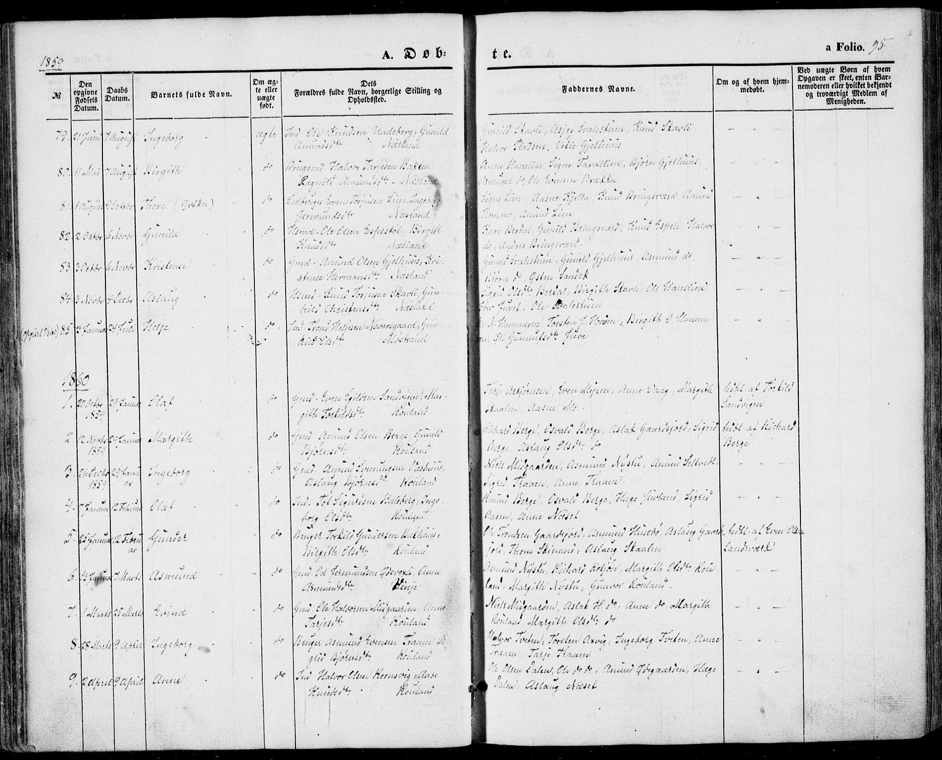 SAKO, Vinje kirkebøker, F/Fa/L0004: Ministerialbok nr. I 4, 1843-1869, s. 95