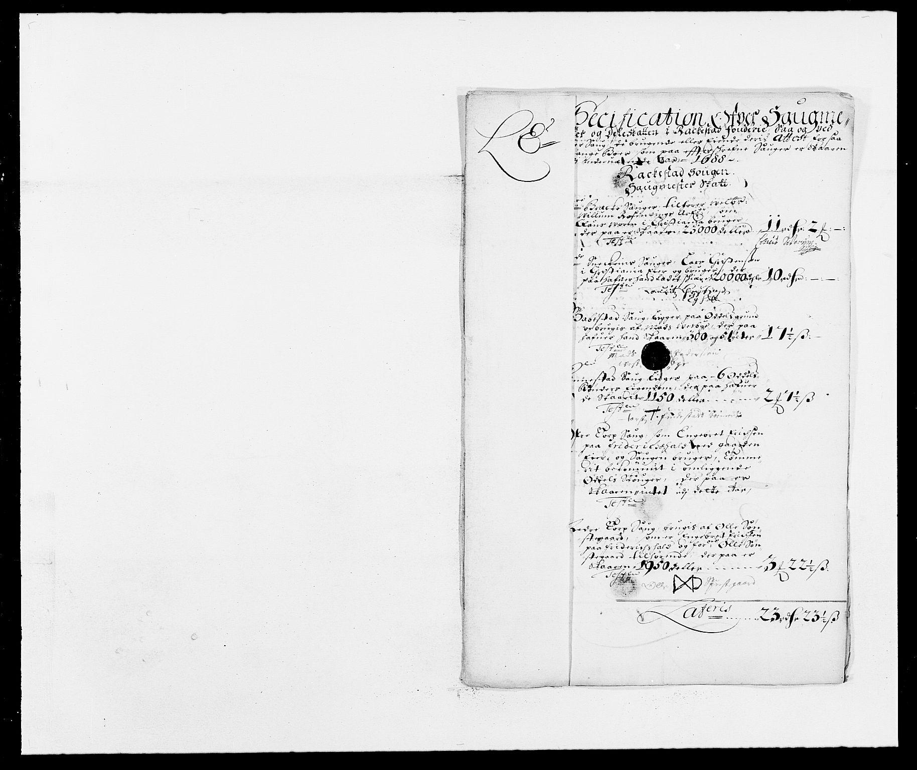RA, Rentekammeret inntil 1814, Reviderte regnskaper, Fogderegnskap, R05/L0276: Fogderegnskap Rakkestad, 1683-1688, s. 218