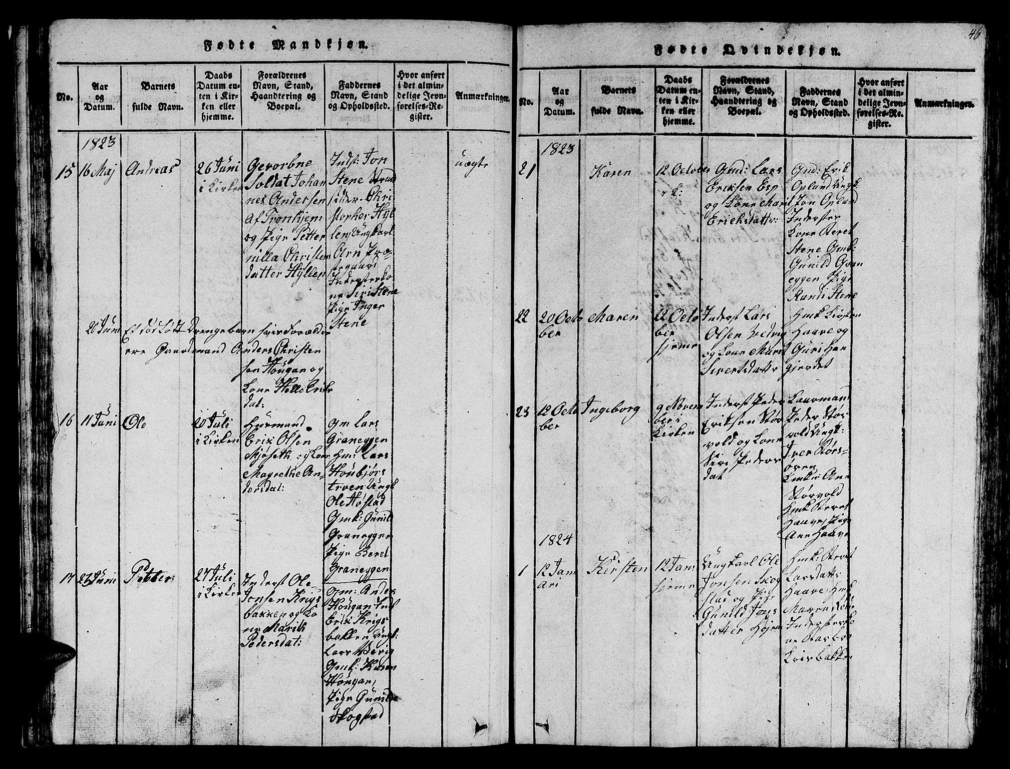 SAT, Ministerialprotokoller, klokkerbøker og fødselsregistre - Sør-Trøndelag, 612/L0385: Klokkerbok nr. 612C01, 1816-1845, s. 46