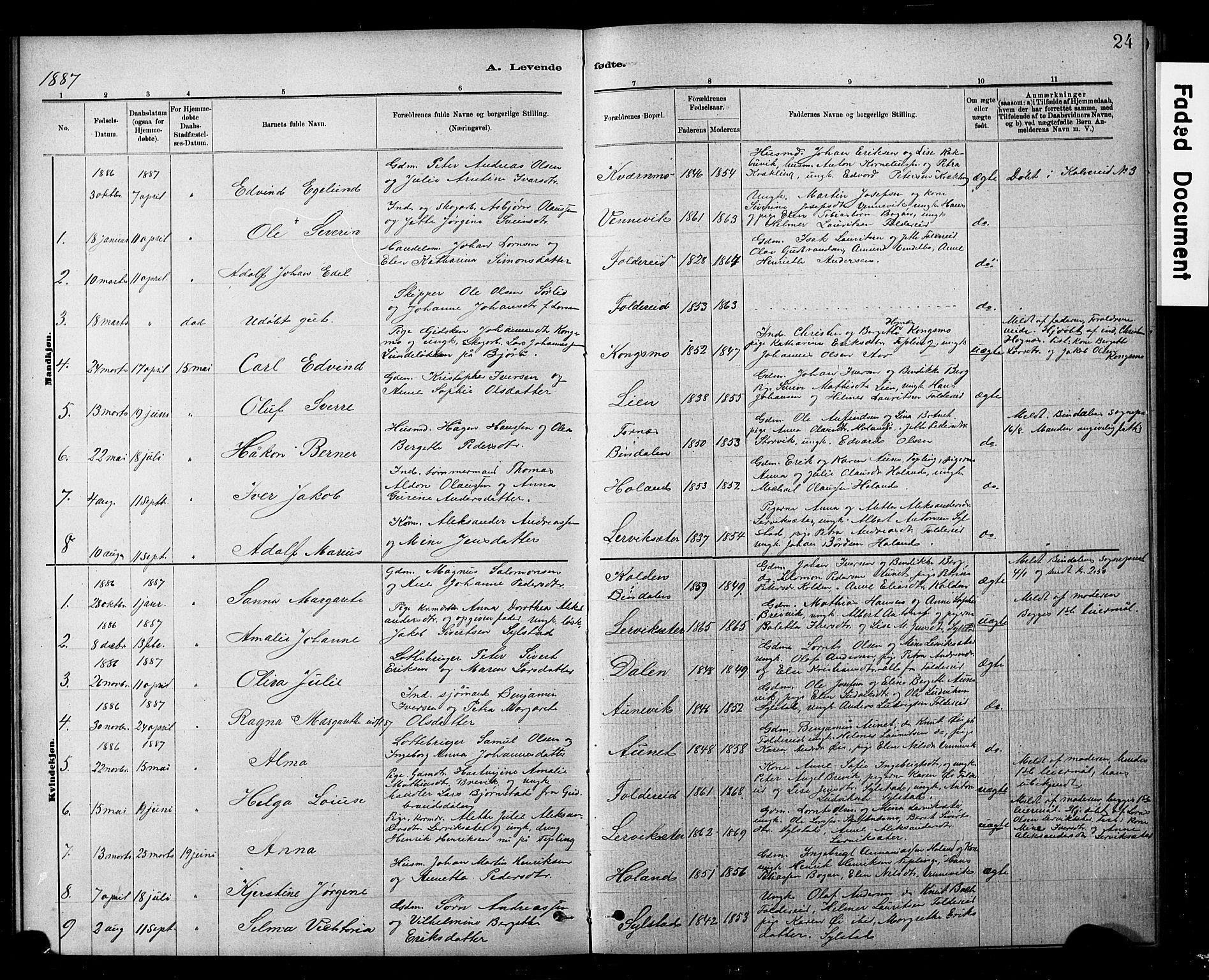 SAT, Ministerialprotokoller, klokkerbøker og fødselsregistre - Nord-Trøndelag, 783/L0661: Klokkerbok nr. 783C01, 1878-1893, s. 24