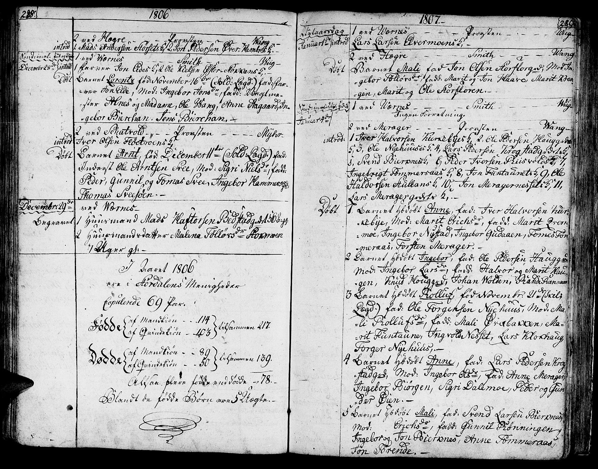 SAT, Ministerialprotokoller, klokkerbøker og fødselsregistre - Nord-Trøndelag, 709/L0060: Ministerialbok nr. 709A07, 1797-1815, s. 288-289