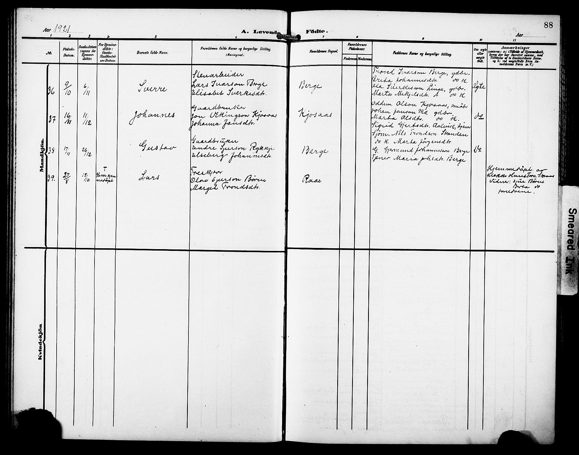 SAB, Kvam sokneprestembete, H/Hab: Klokkerbok nr. C 4, 1906-1931, s. 88