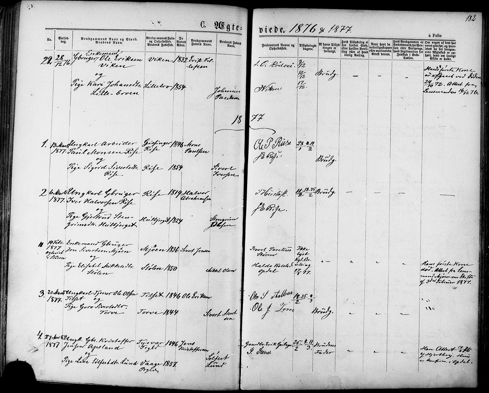 SAT, Ministerialprotokoller, klokkerbøker og fødselsregistre - Sør-Trøndelag, 678/L0900: Ministerialbok nr. 678A09, 1872-1881, s. 182