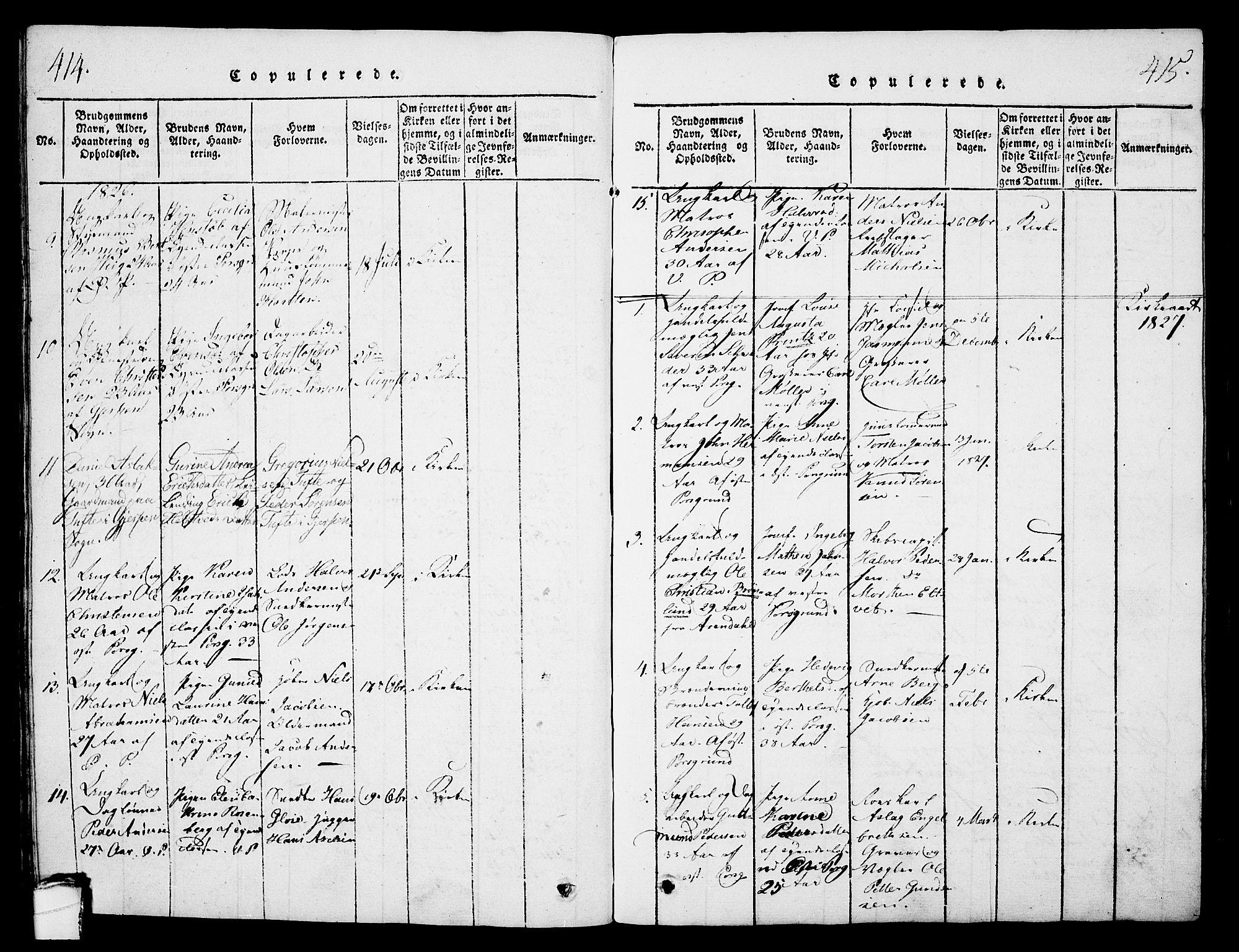 SAKO, Porsgrunn kirkebøker , G/Gb/L0001: Klokkerbok nr. II 1, 1817-1828, s. 414-415