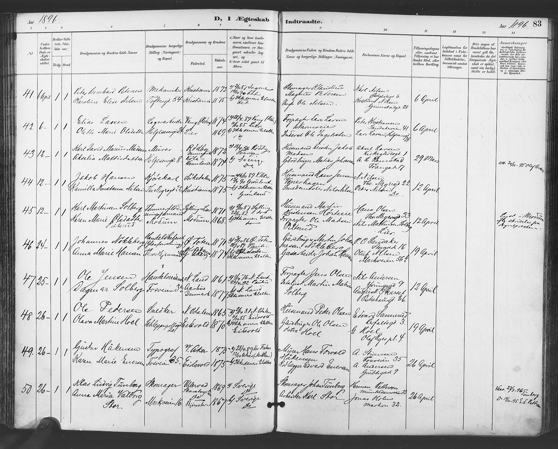 SAO, Paulus prestekontor Kirkebøker, F/Fa/L0009: Ministerialbok nr. 9, 1891-1901, s. 83