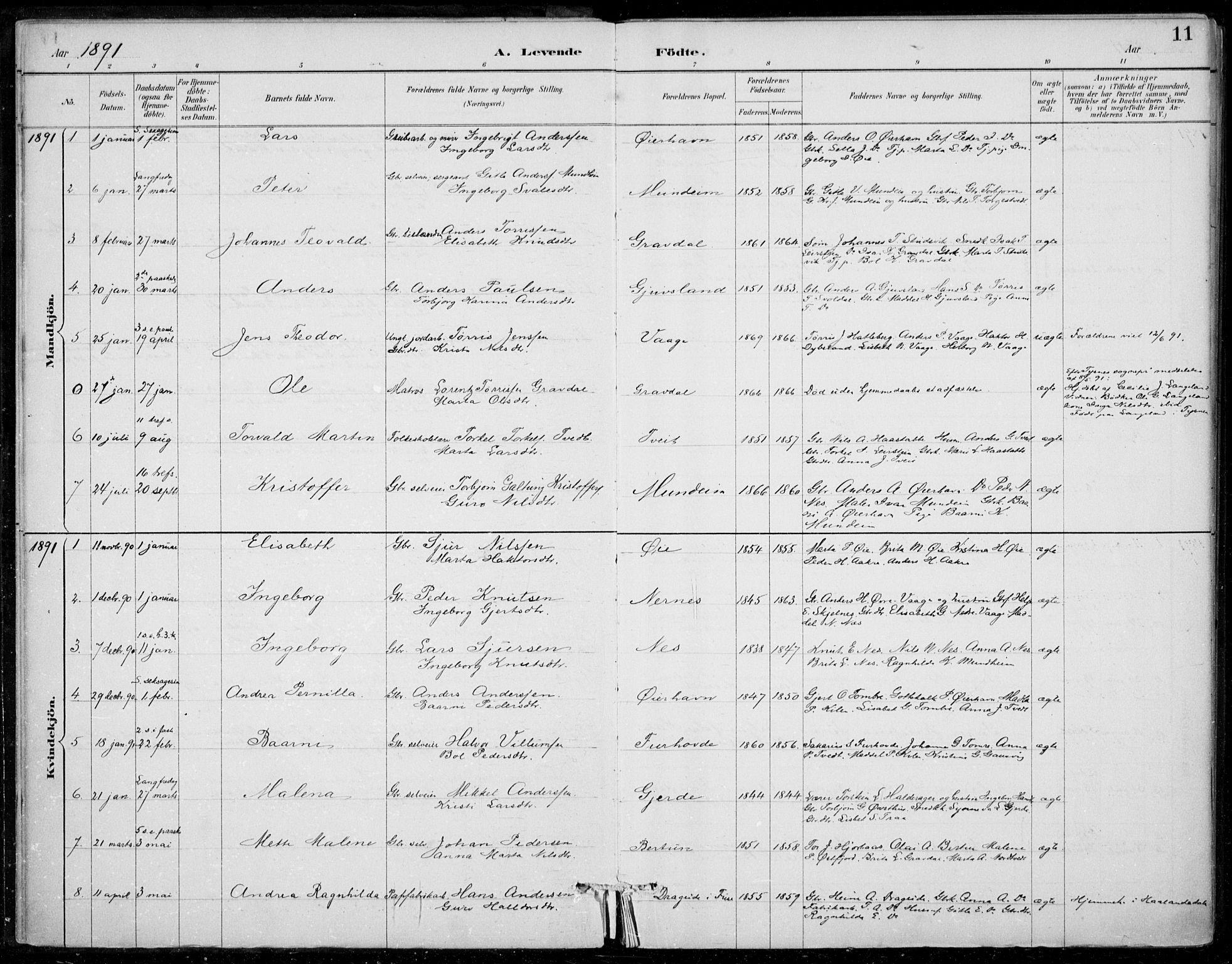 SAB, Strandebarm sokneprestembete, H/Haa: Ministerialbok nr. D  1, 1886-1912, s. 11