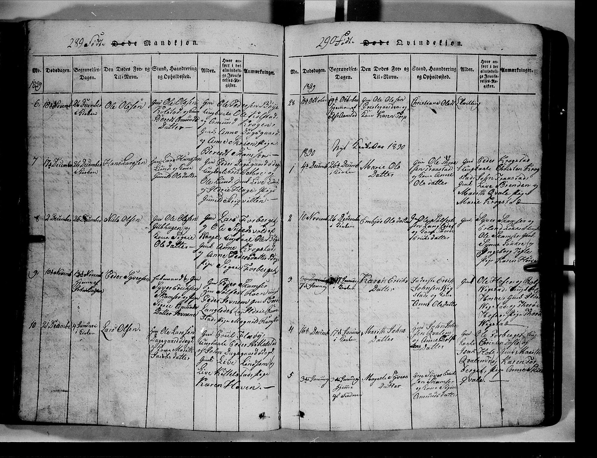 SAH, Lom prestekontor, L/L0003: Klokkerbok nr. 3, 1815-1844, s. 289-290