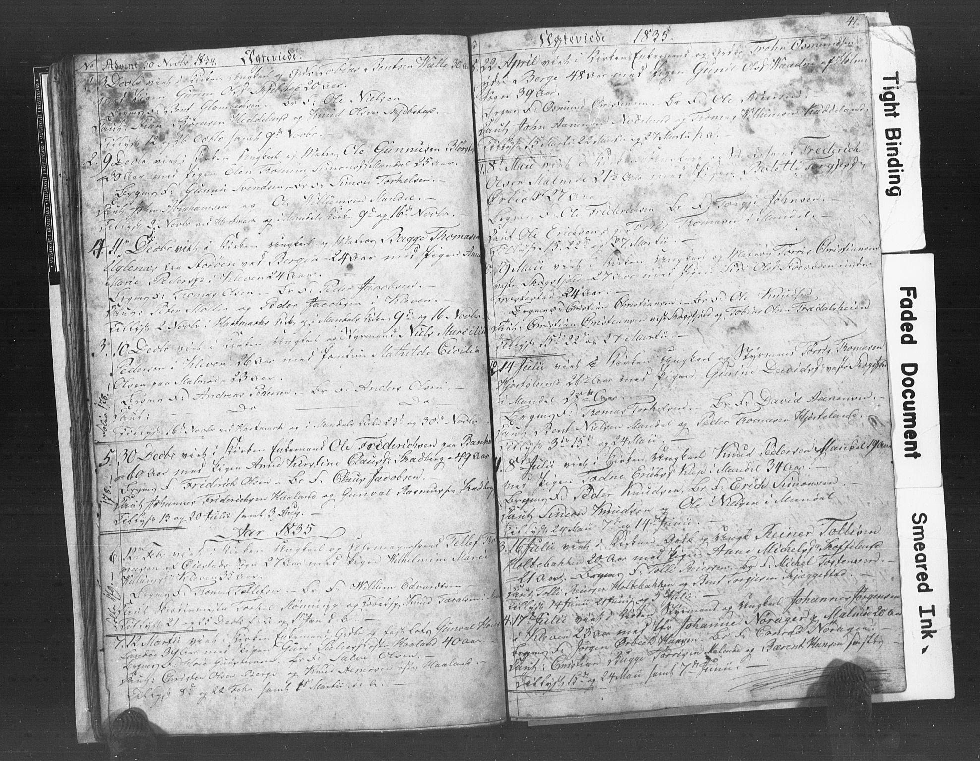 SAK, Mandal sokneprestkontor, F/Fb/Fba/L0003: Klokkerbok nr. B 1C, 1834-1838, s. 41