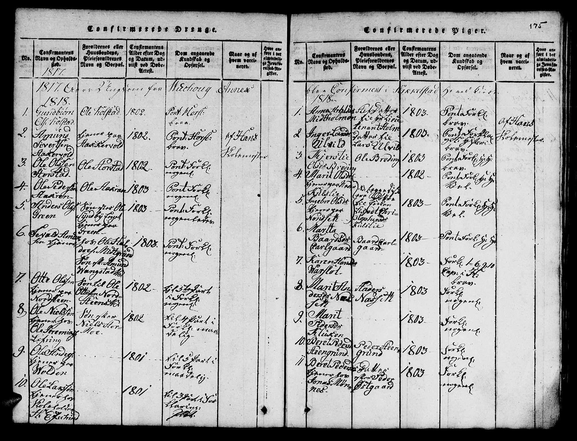 SAT, Ministerialprotokoller, klokkerbøker og fødselsregistre - Nord-Trøndelag, 724/L0265: Klokkerbok nr. 724C01, 1816-1845, s. 175