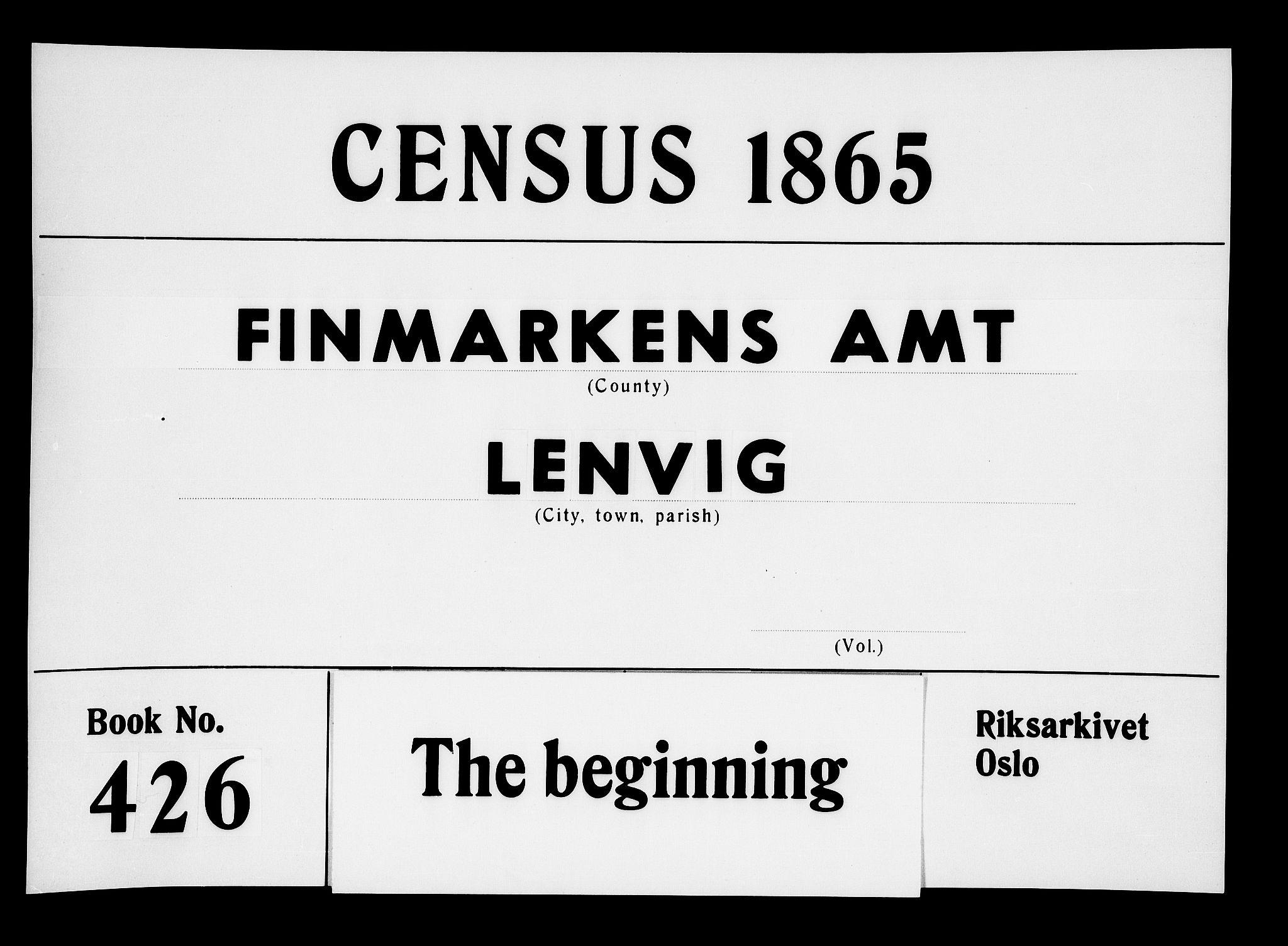 RA, Folketelling 1865 for 1931P Lenvik prestegjeld, 1865, s. 1