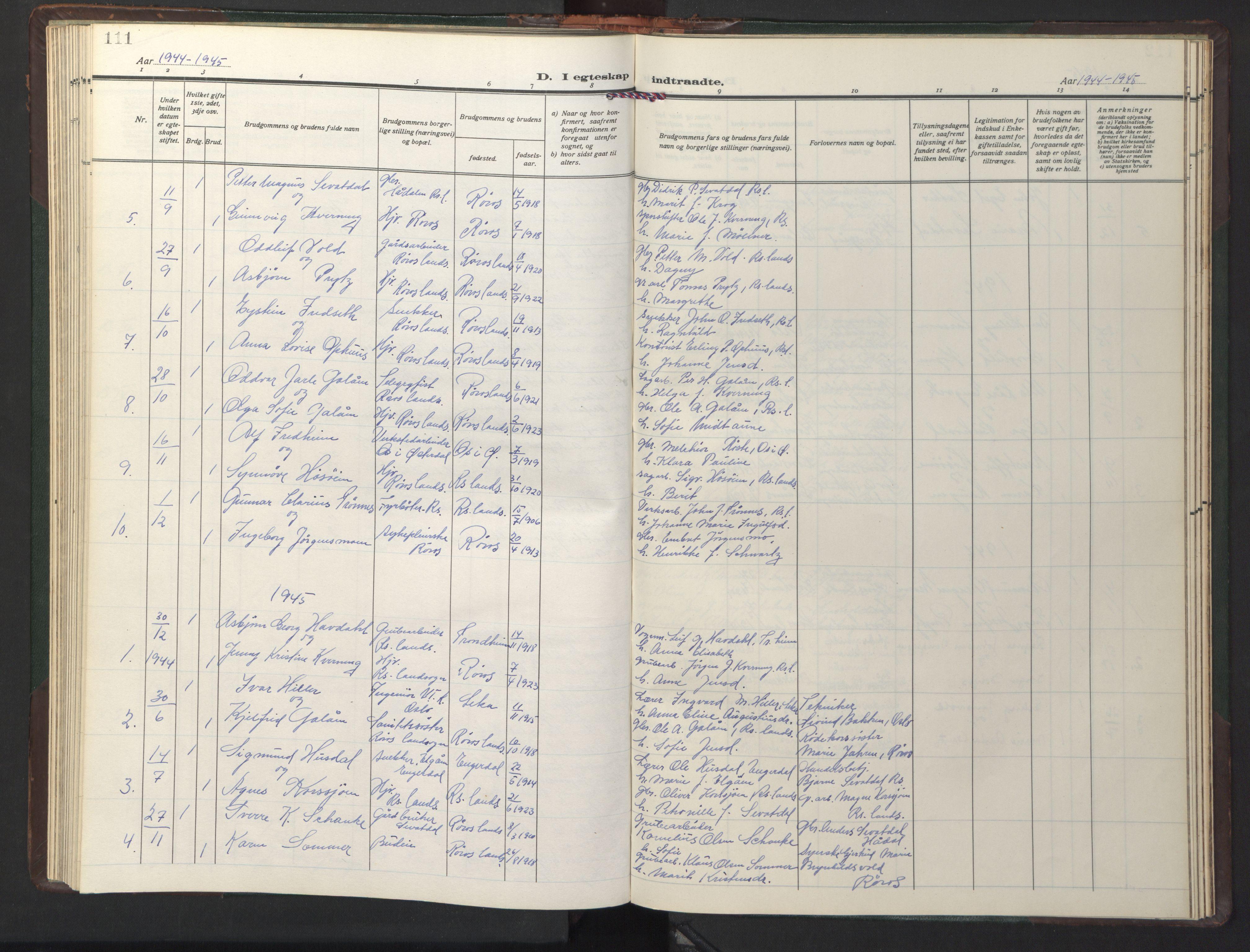 SAT, Ministerialprotokoller, klokkerbøker og fødselsregistre - Sør-Trøndelag, 681/L0944: Klokkerbok nr. 681C08, 1926-1954, s. 111