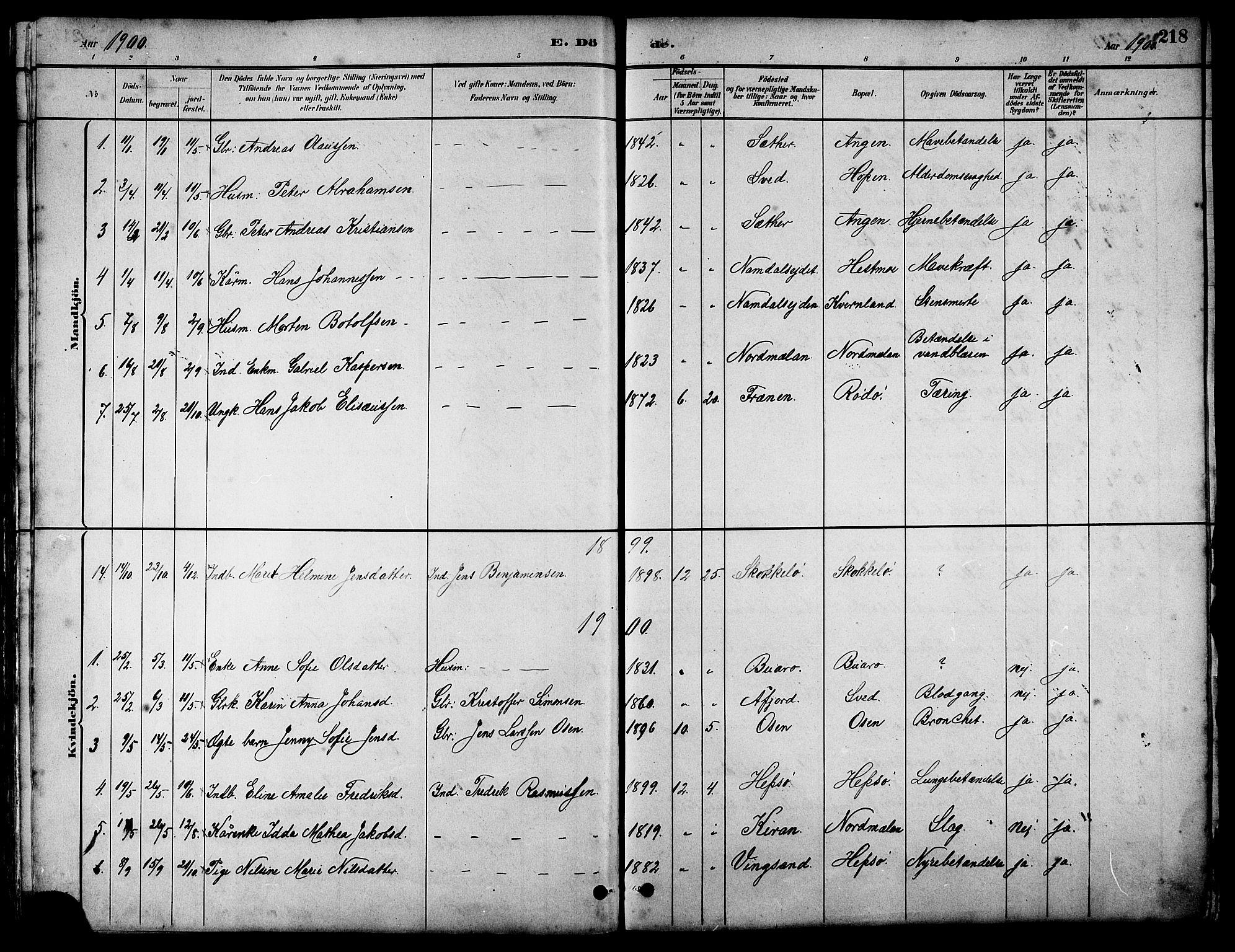 SAT, Ministerialprotokoller, klokkerbøker og fødselsregistre - Sør-Trøndelag, 658/L0726: Klokkerbok nr. 658C02, 1883-1908, s. 218