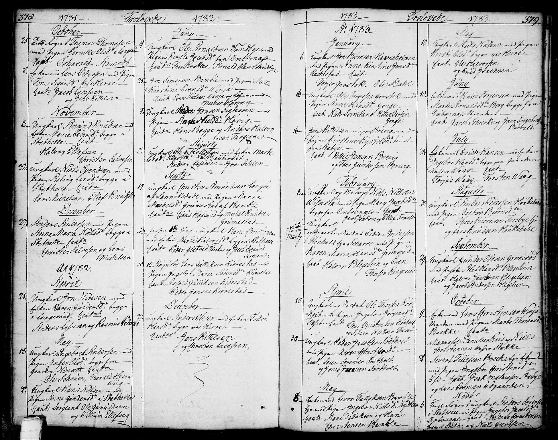 SAKO, Bamble kirkebøker, F/Fa/L0002: Ministerialbok nr. I 2, 1775-1814, s. 378-379