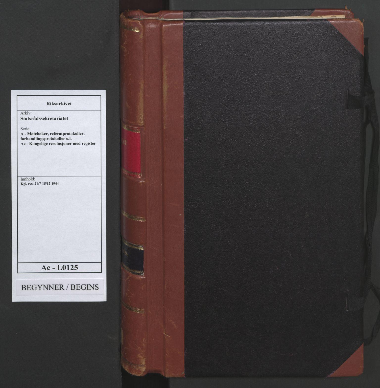 RA, Statsrådssekretariatet, A/Ac/L0125: Kgl. res. 21/7-15/12, 1944, s. upaginert