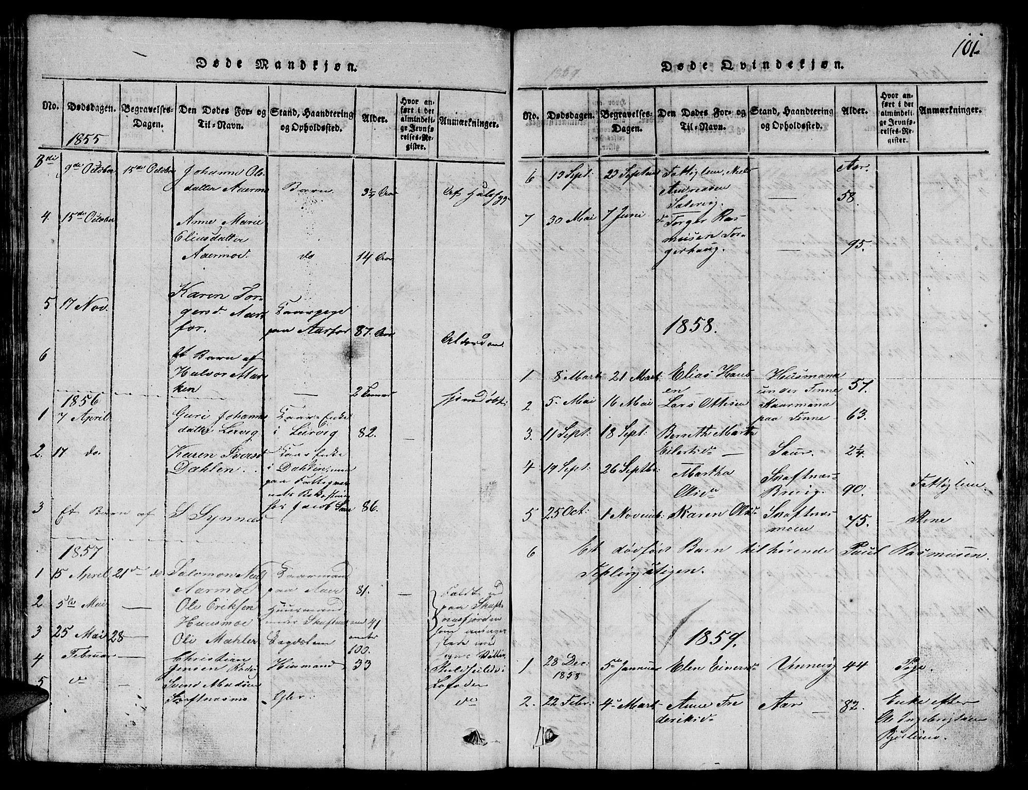 SAT, Ministerialprotokoller, klokkerbøker og fødselsregistre - Nord-Trøndelag, 780/L0648: Klokkerbok nr. 780C01 /3, 1815-1877, s. 101