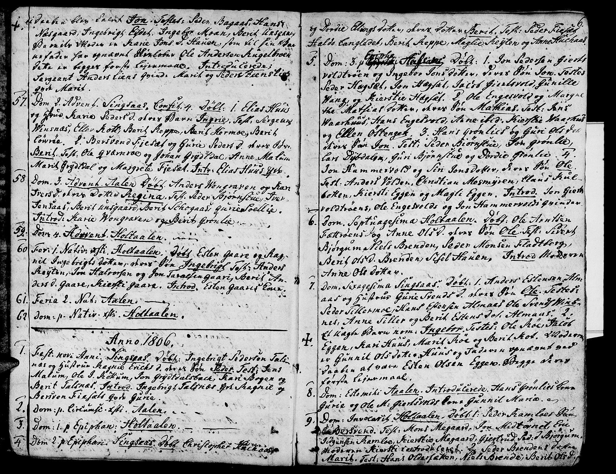 SAT, Ministerialprotokoller, klokkerbøker og fødselsregistre - Sør-Trøndelag, 685/L0953: Ministerialbok nr. 685A02, 1805-1816, s. 6