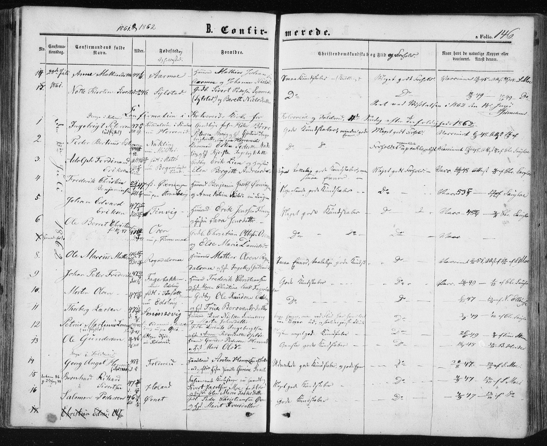 SAT, Ministerialprotokoller, klokkerbøker og fødselsregistre - Nord-Trøndelag, 780/L0641: Ministerialbok nr. 780A06, 1857-1874, s. 146