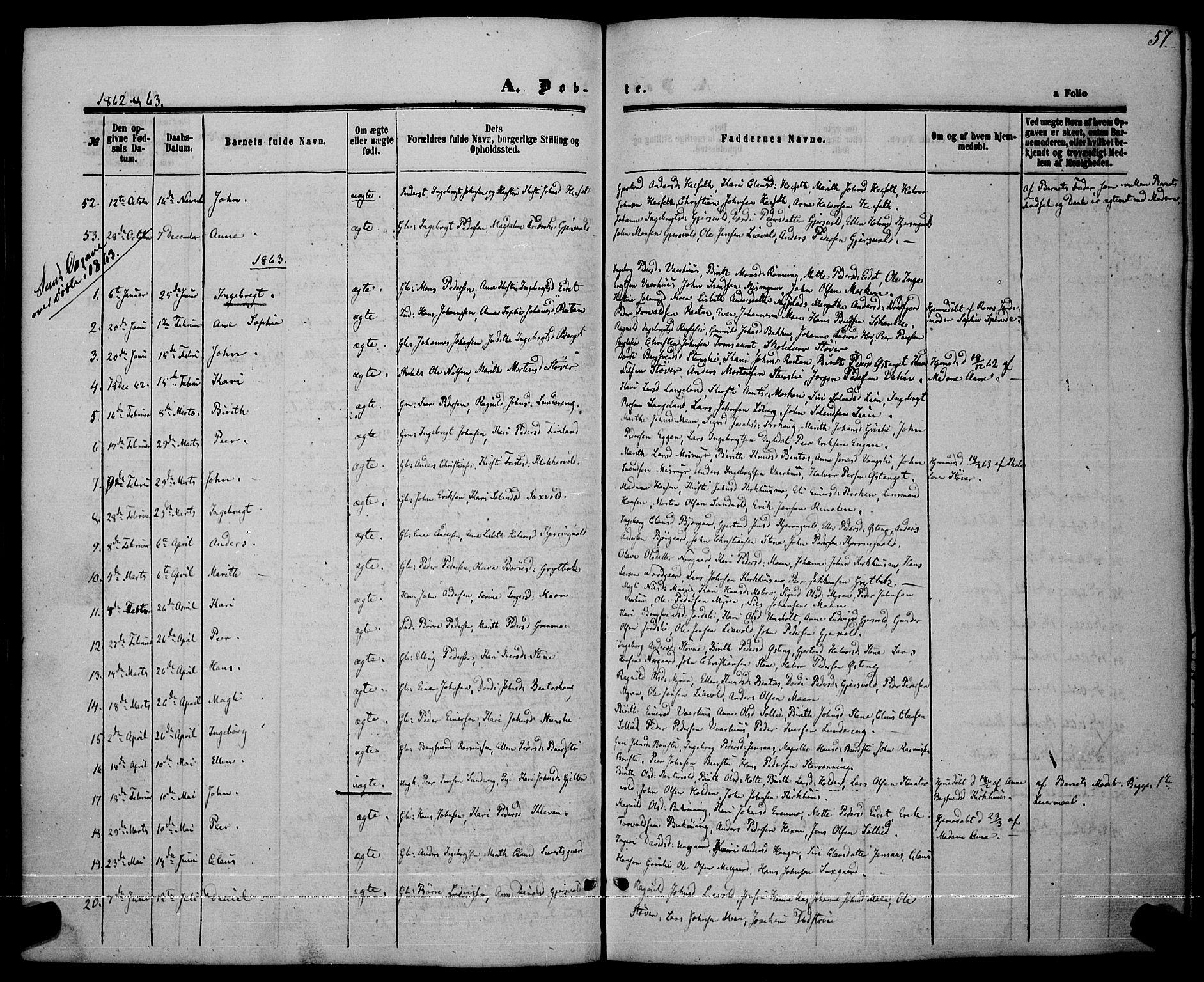 SAT, Ministerialprotokoller, klokkerbøker og fødselsregistre - Sør-Trøndelag, 685/L0968: Ministerialbok nr. 685A07 /3, 1860-1869, s. 57