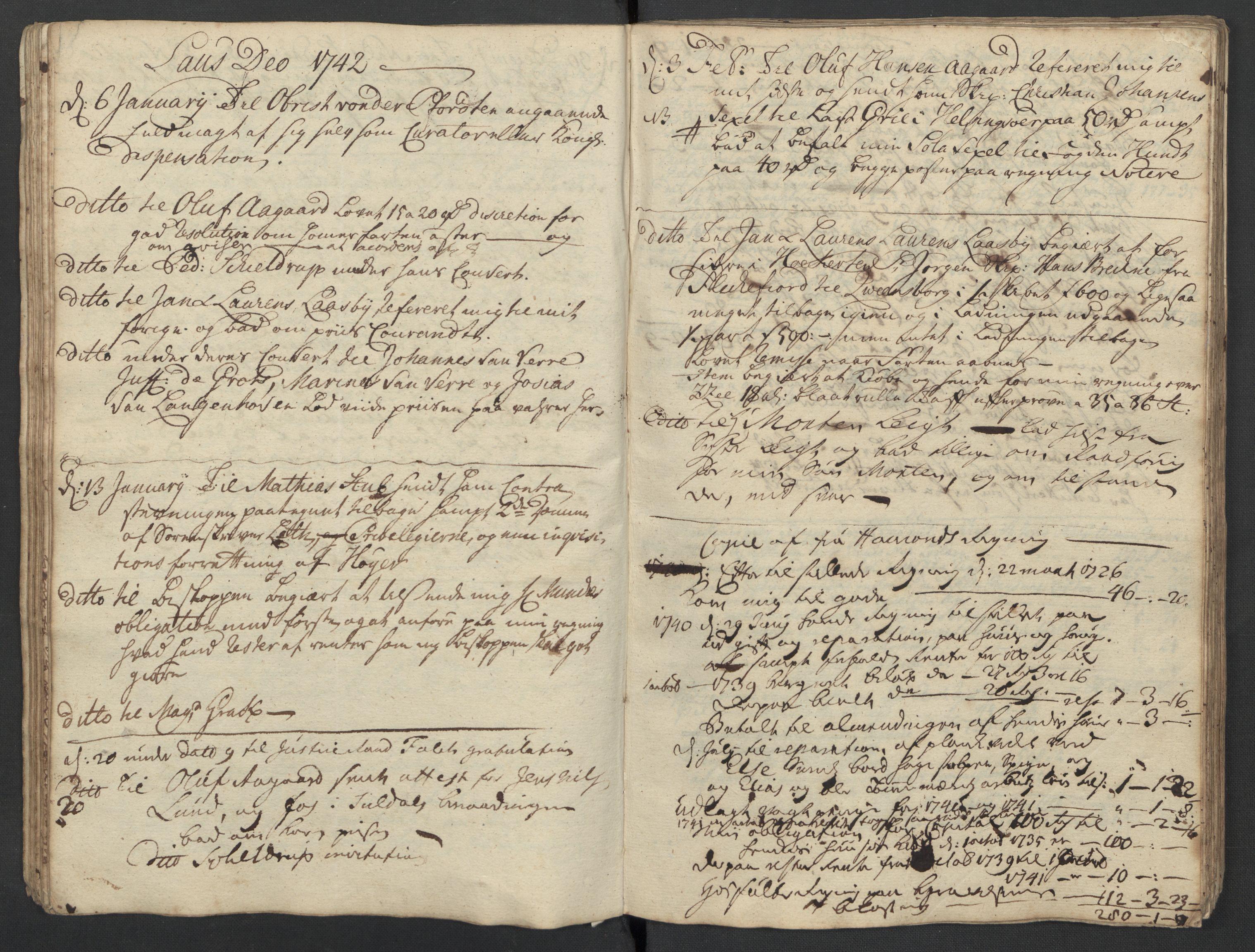 SAST, Pa 0119 - Smith, Lauritz Andersen og Lauritz Lauritzen, O/L0001: Kopibøker m.m., 1740-1745, s. 42