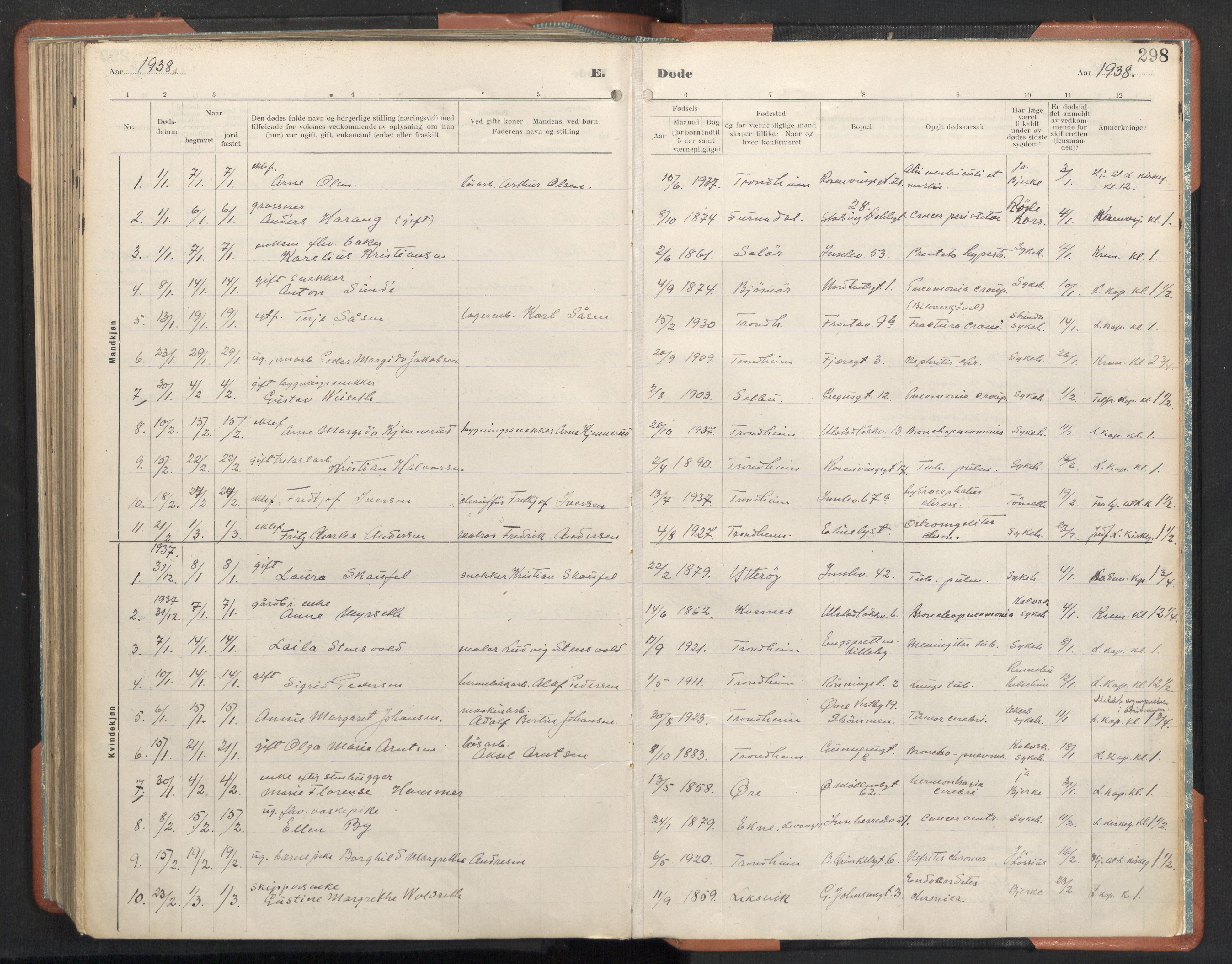 SAT, Ministerialprotokoller, klokkerbøker og fødselsregistre - Sør-Trøndelag, 605/L0245: Ministerialbok nr. 605A07, 1916-1938, s. 298