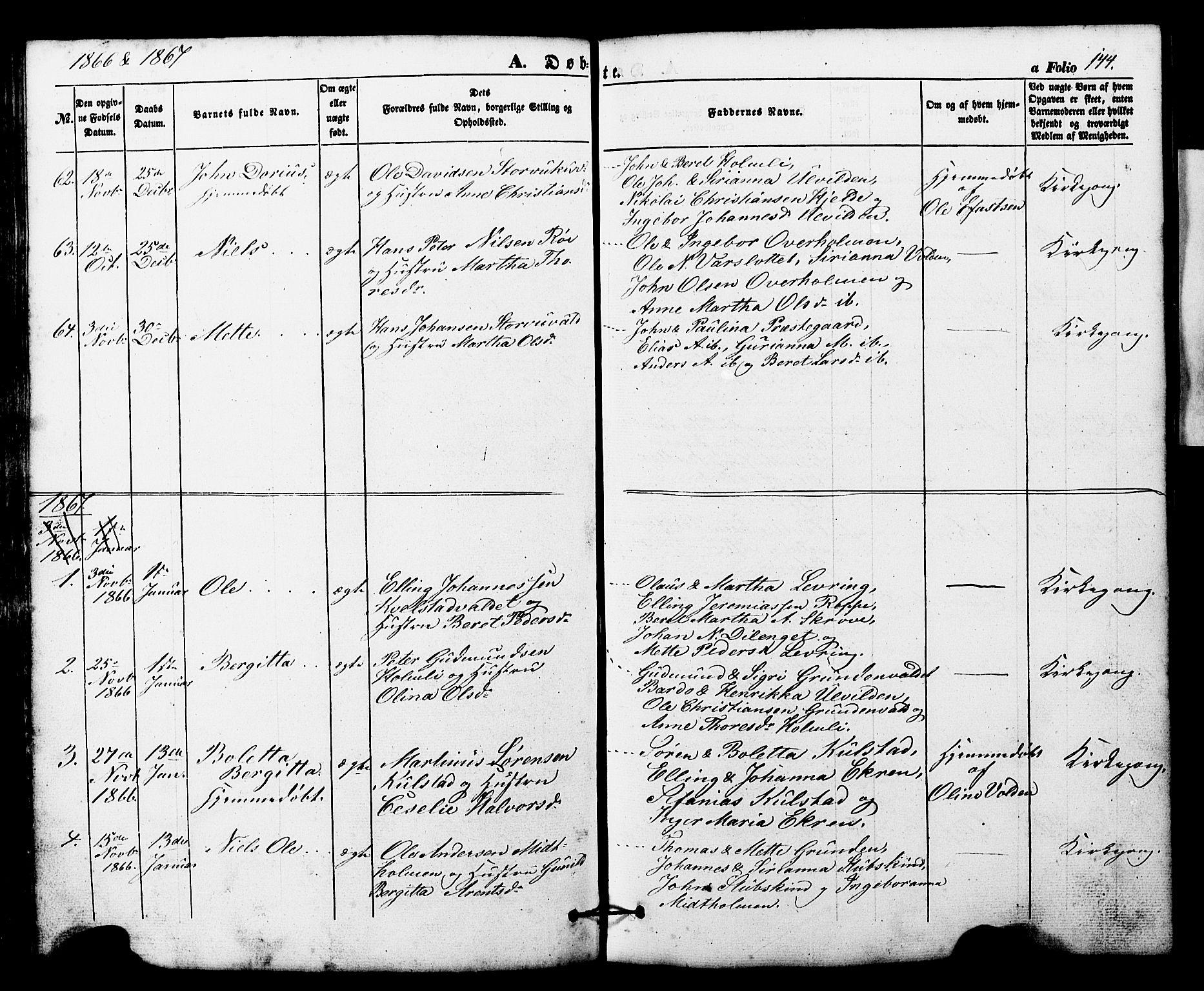 SAT, Ministerialprotokoller, klokkerbøker og fødselsregistre - Nord-Trøndelag, 724/L0268: Klokkerbok nr. 724C04, 1846-1878, s. 144