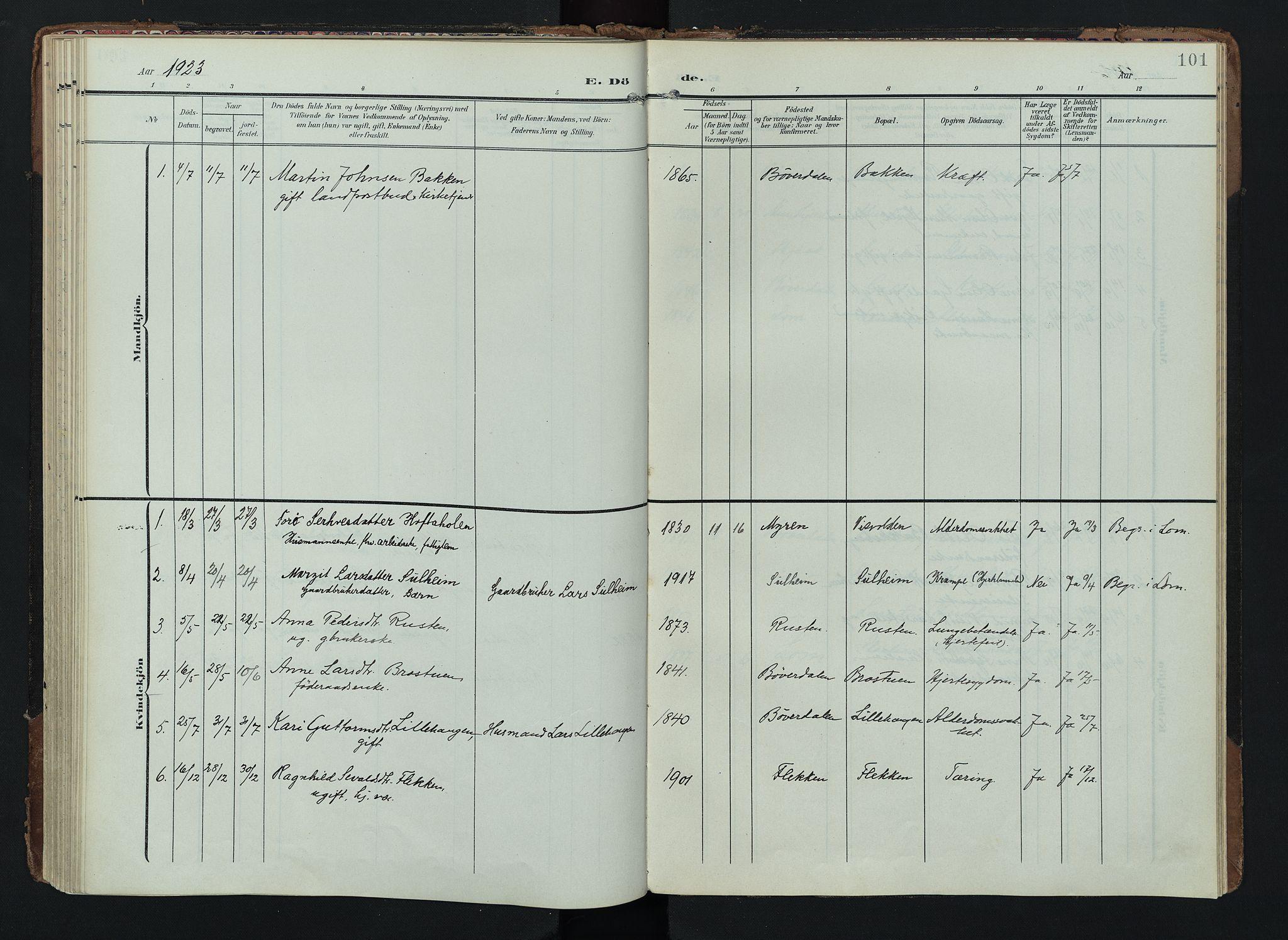 SAH, Lom prestekontor, K/L0012: Ministerialbok nr. 12, 1904-1928, s. 101