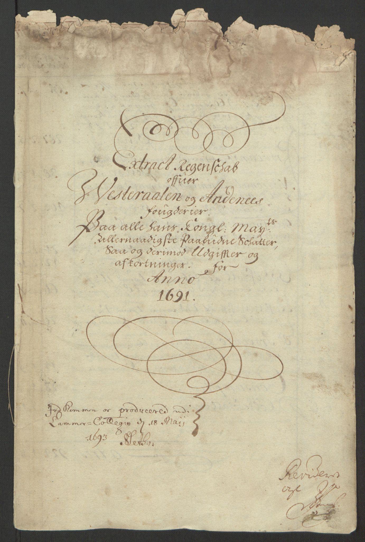 RA, Rentekammeret inntil 1814, Reviderte regnskaper, Fogderegnskap, R67/L4676: Fogderegnskap Vesterålen, Andenes og Lofoten, 1691-1693, s. 4