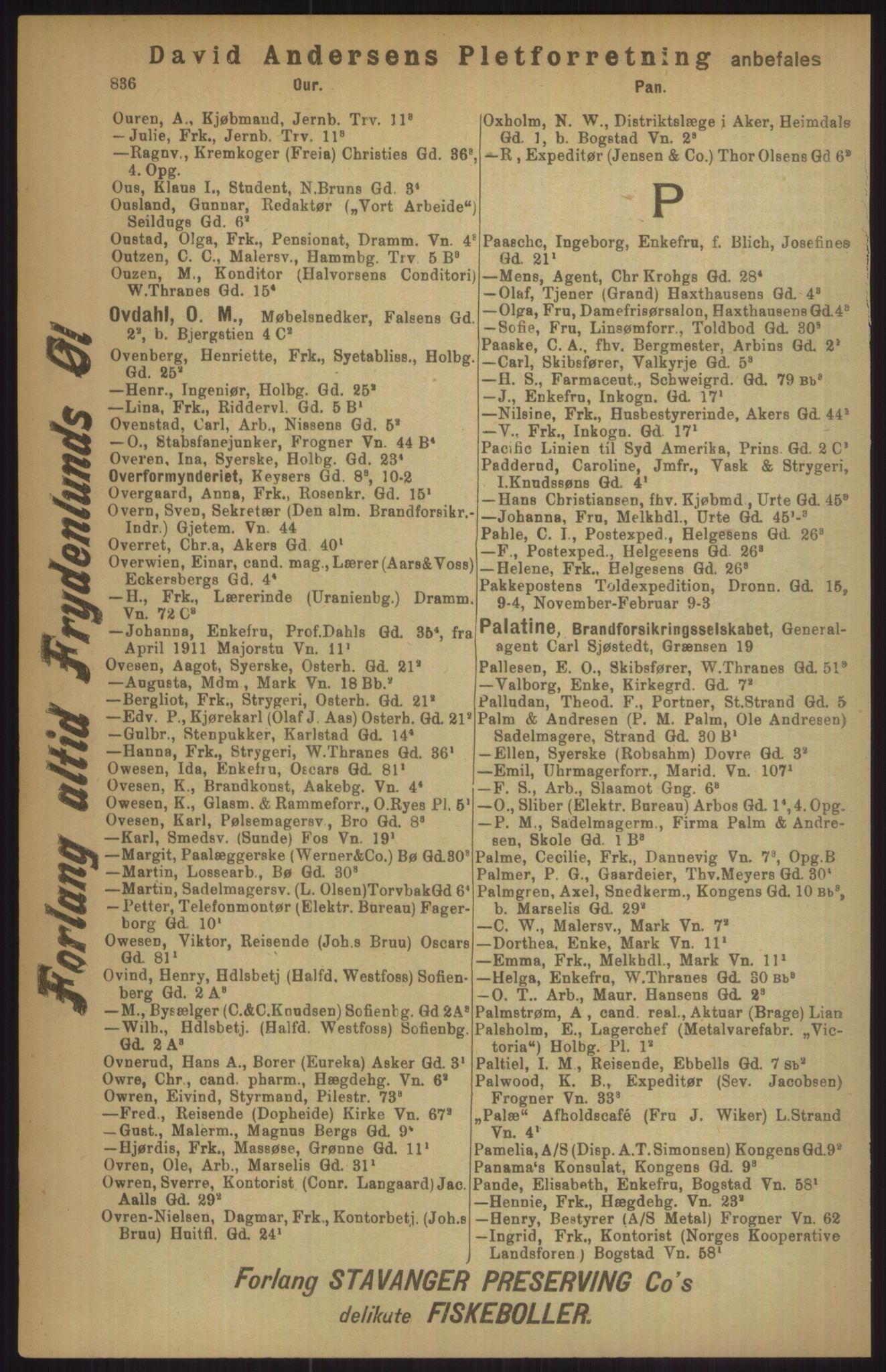 RA, Kristiania adressebok (publikasjon)*, 1911, s. 836