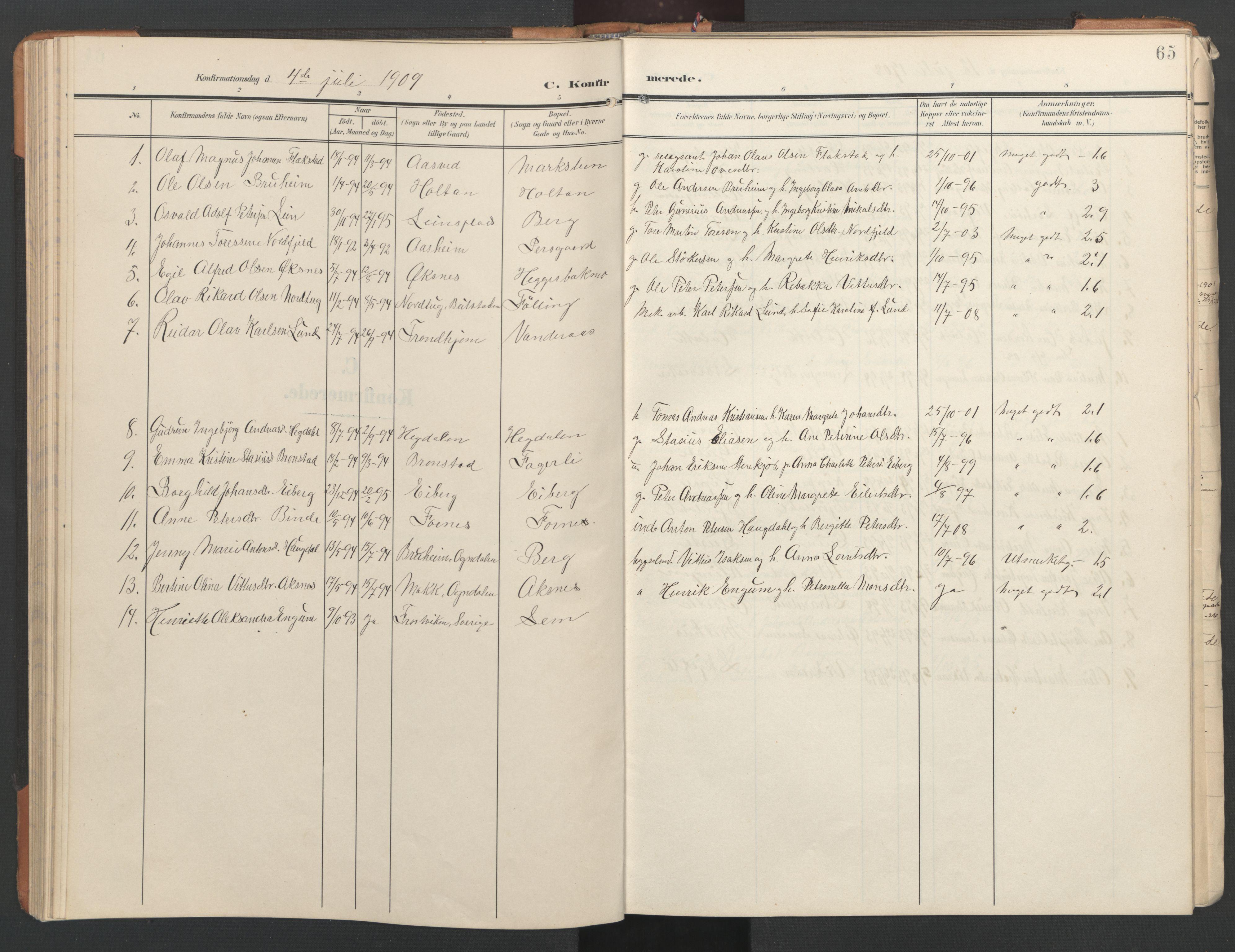SAT, Ministerialprotokoller, klokkerbøker og fødselsregistre - Nord-Trøndelag, 746/L0455: Klokkerbok nr. 746C01, 1908-1933, s. 65
