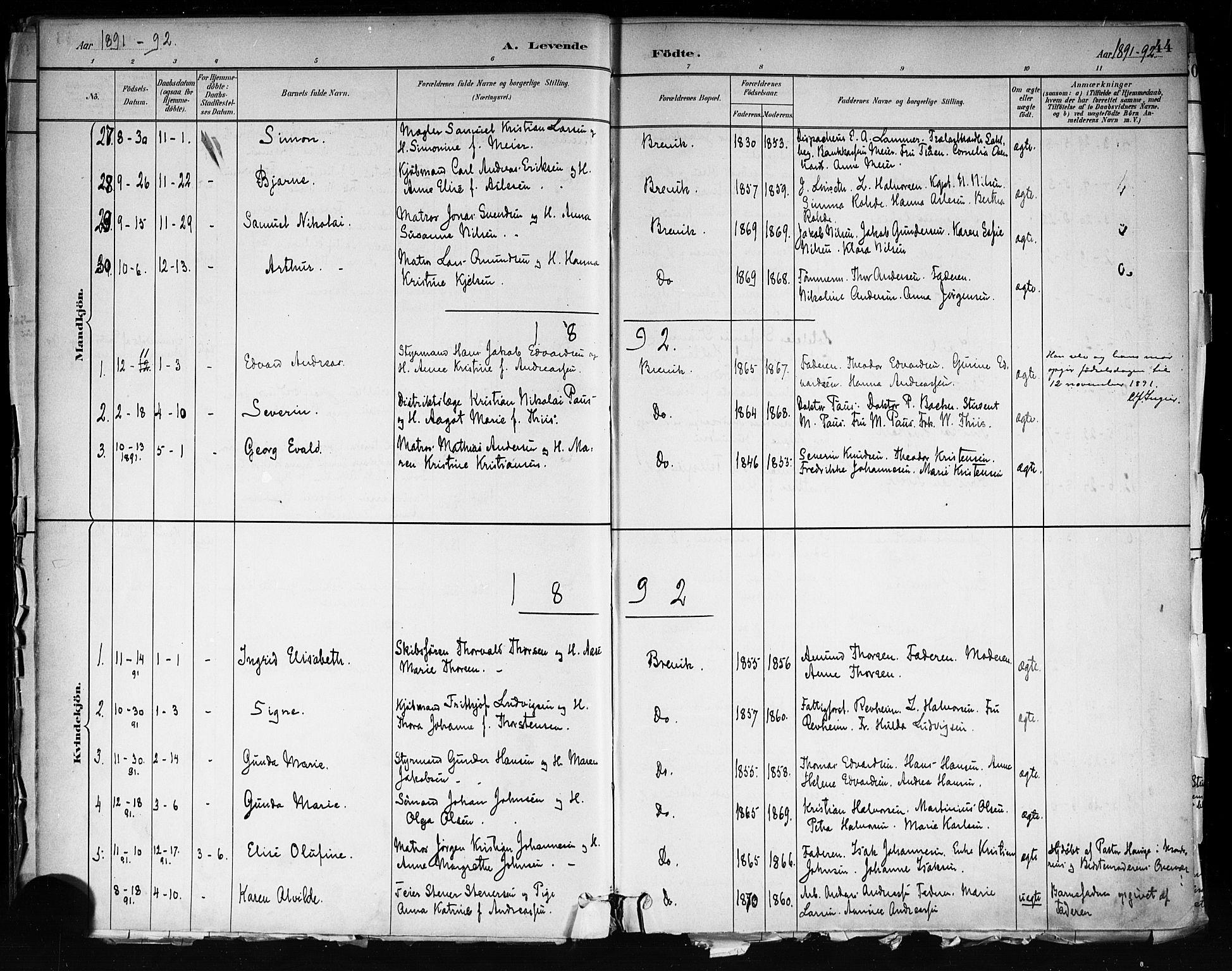 SAKO, Brevik kirkebøker, F/Fa/L0007: Ministerialbok nr. 7, 1882-1900, s. 44