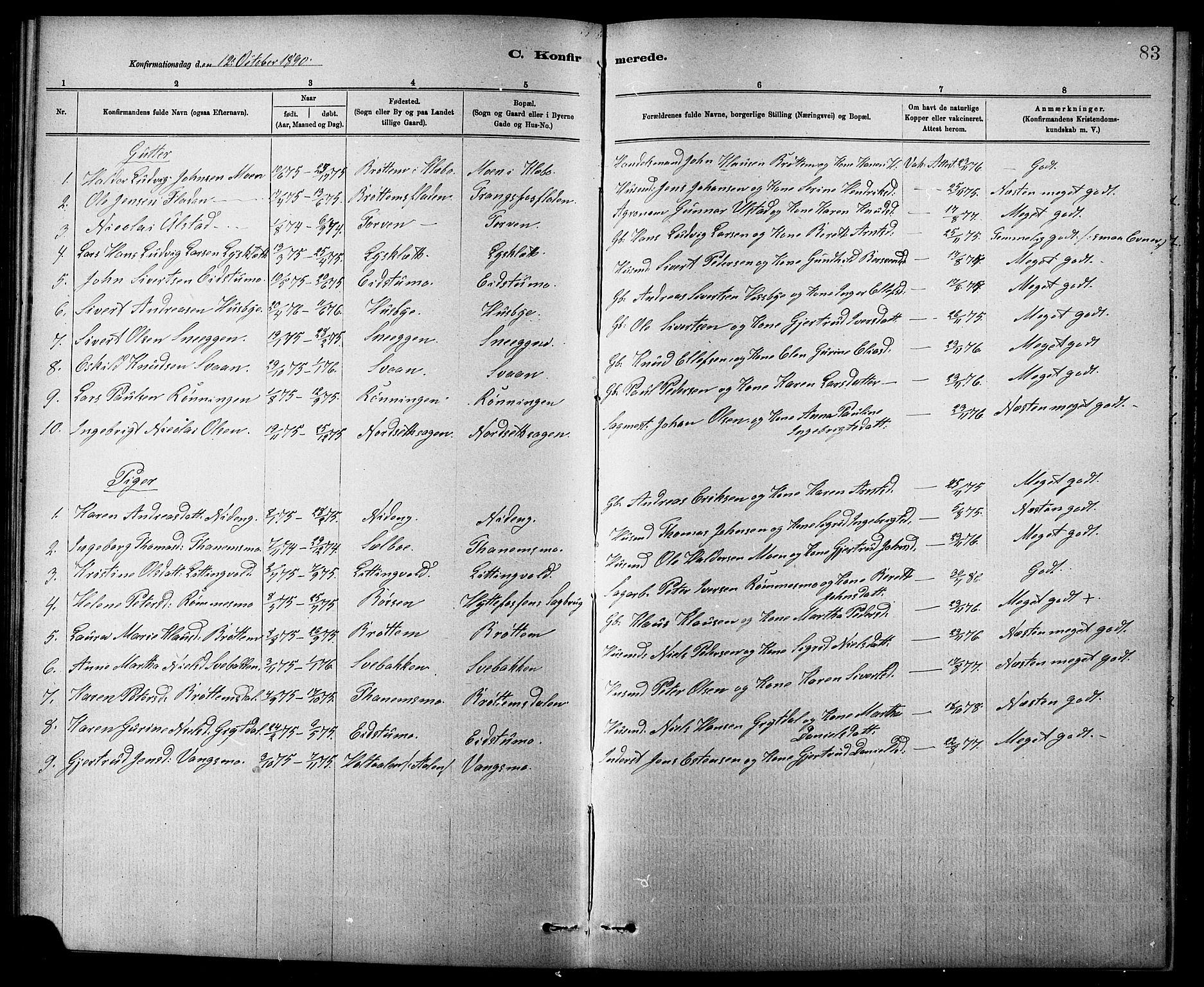SAT, Ministerialprotokoller, klokkerbøker og fødselsregistre - Sør-Trøndelag, 618/L0452: Klokkerbok nr. 618C03, 1884-1906, s. 83