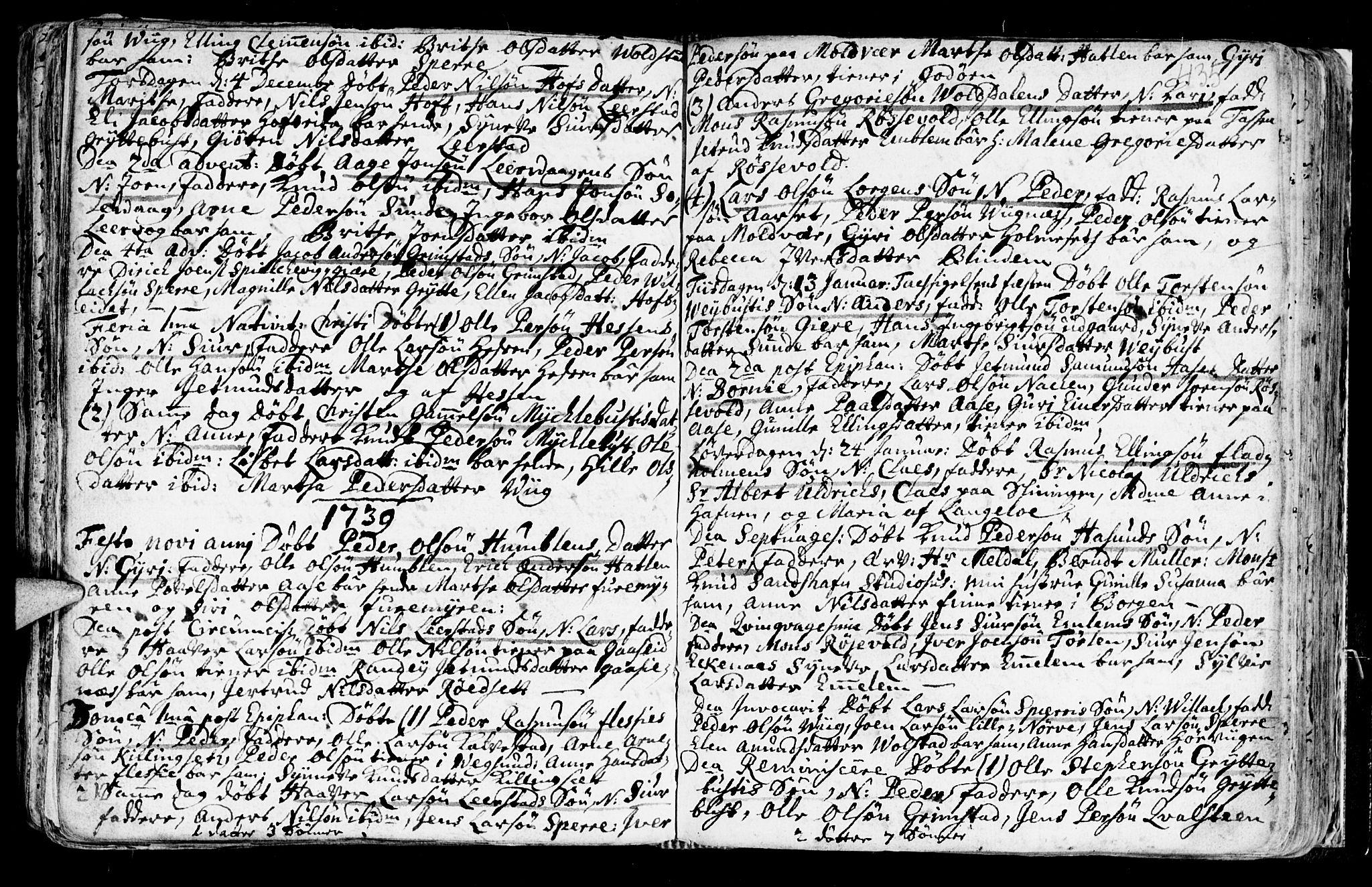 SAT, Ministerialprotokoller, klokkerbøker og fødselsregistre - Møre og Romsdal, 528/L0390: Ministerialbok nr. 528A01, 1698-1739, s. 434-435