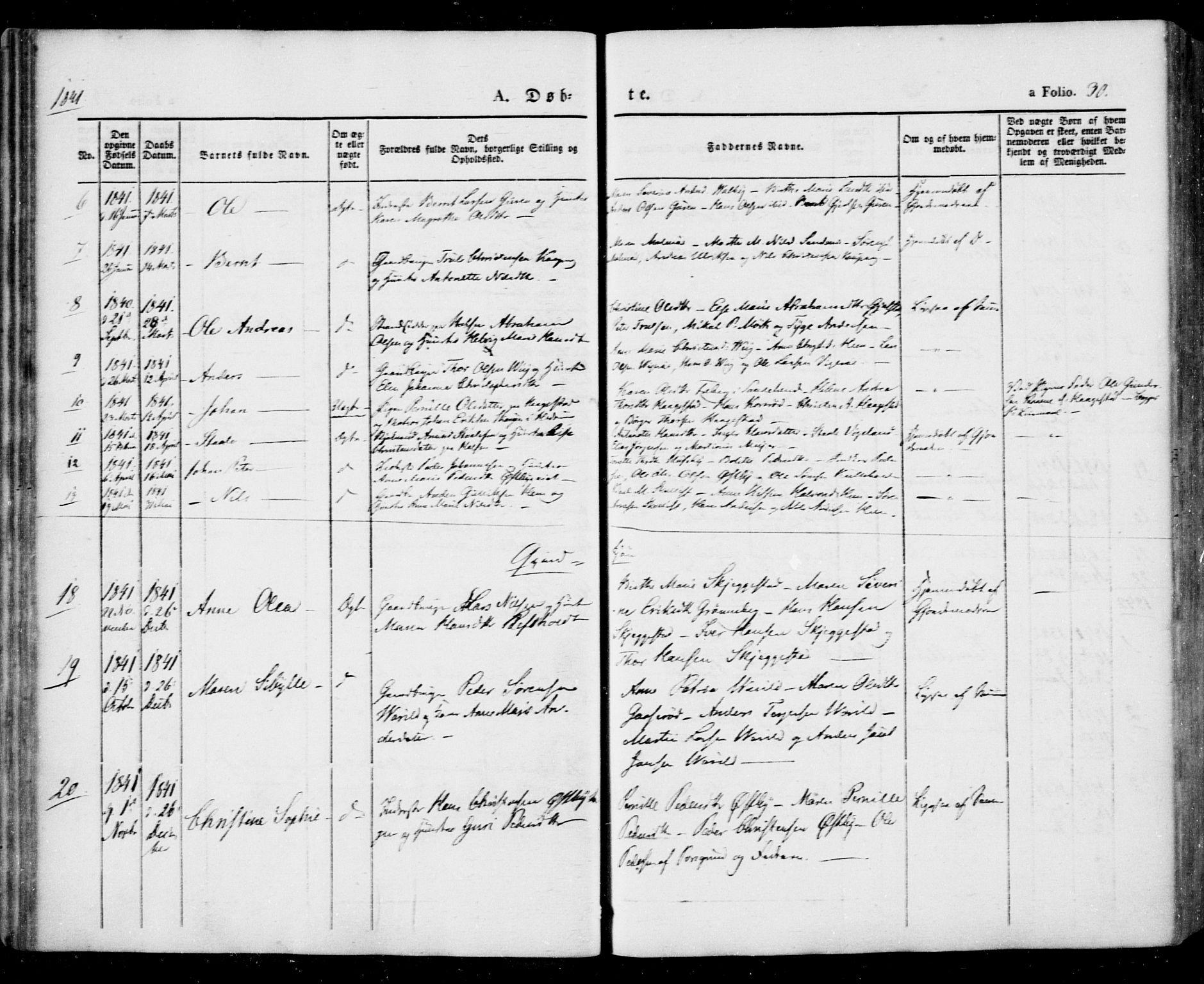 SAKO, Tjølling kirkebøker, F/Fa/L0006: Ministerialbok nr. 6, 1835-1859, s. 30