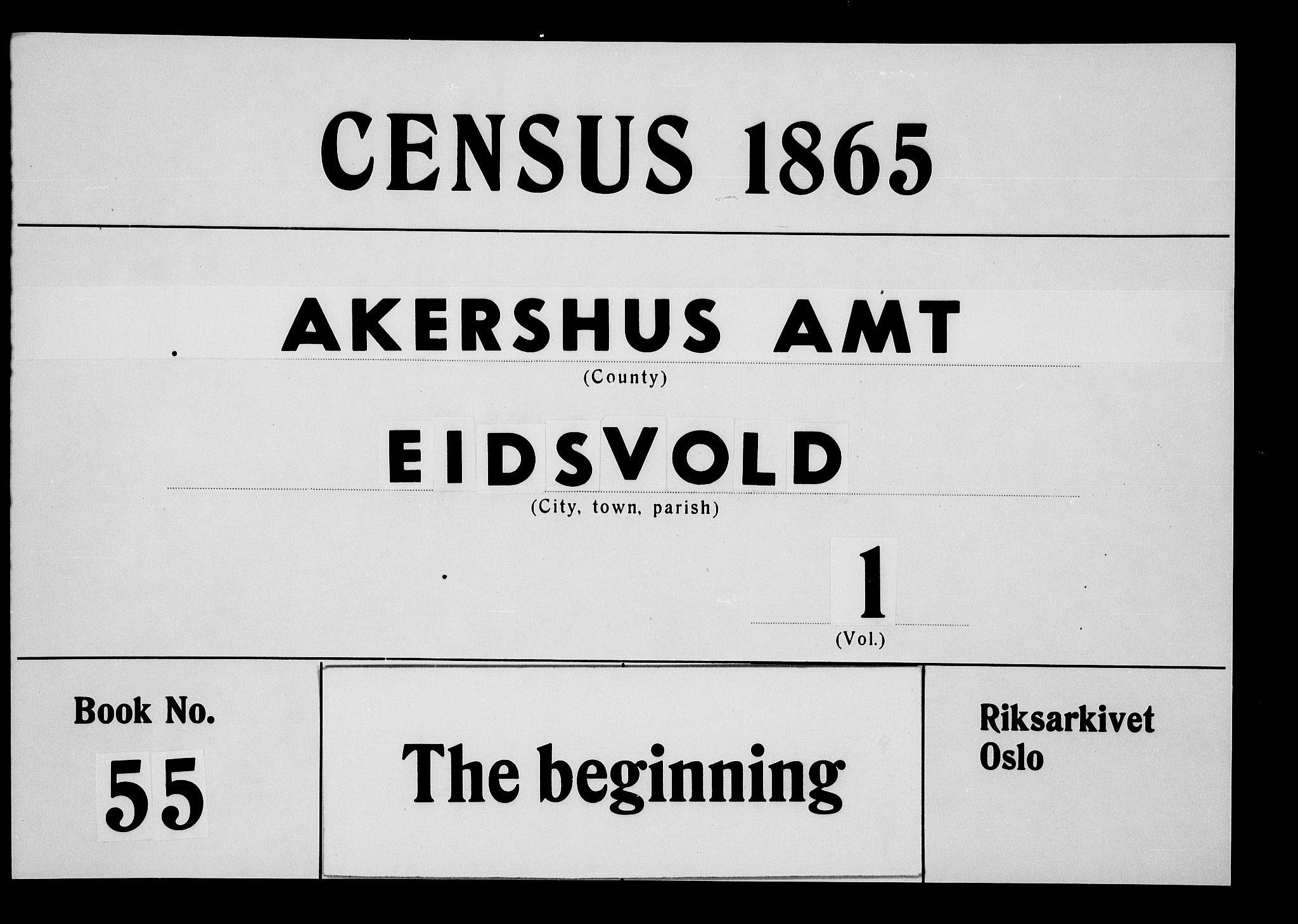 RA, Folketelling 1865 for 0237P Eidsvoll prestegjeld, 1865, s. 1