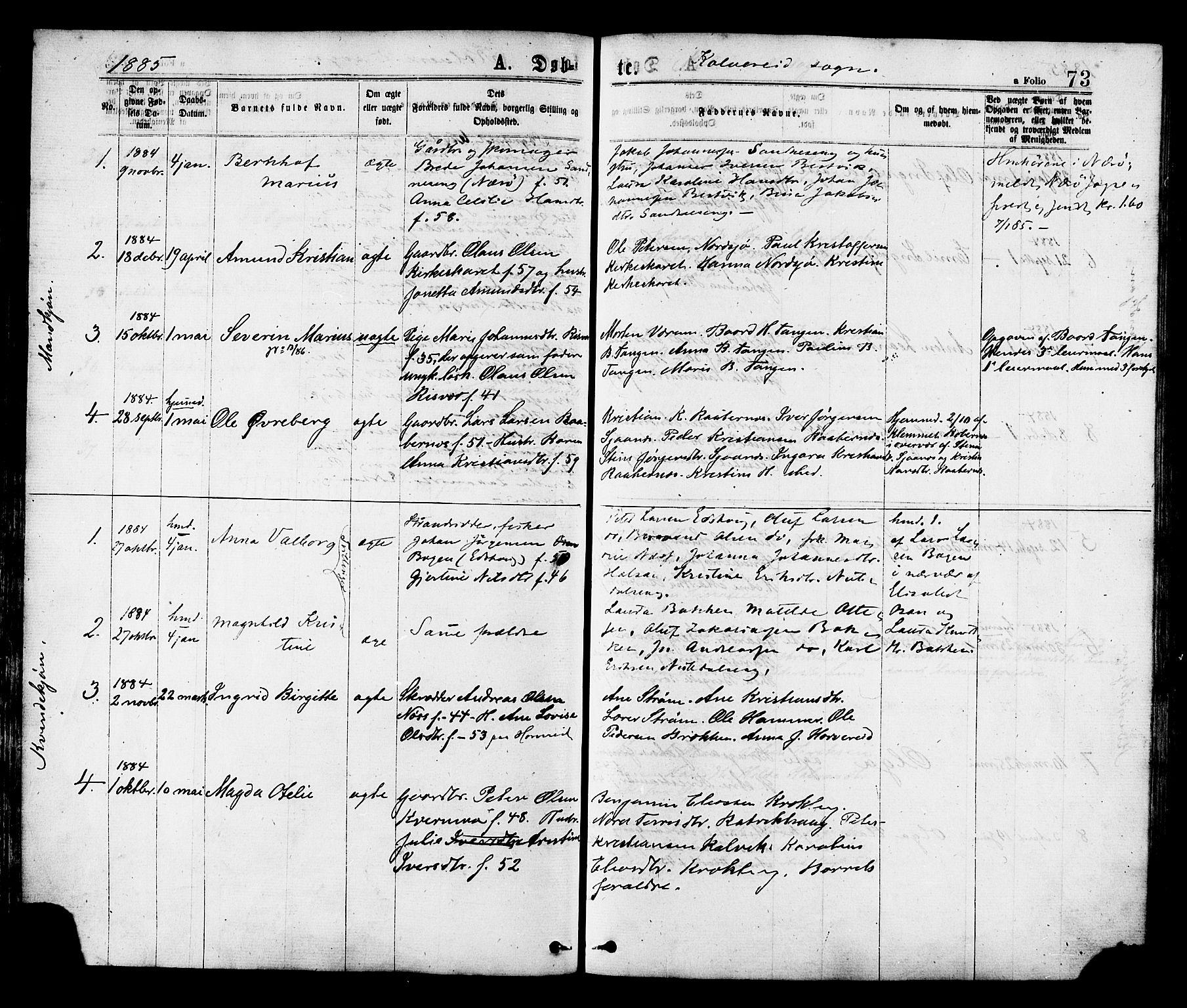 SAT, Ministerialprotokoller, klokkerbøker og fødselsregistre - Nord-Trøndelag, 780/L0642: Ministerialbok nr. 780A07 /1, 1874-1885, s. 73