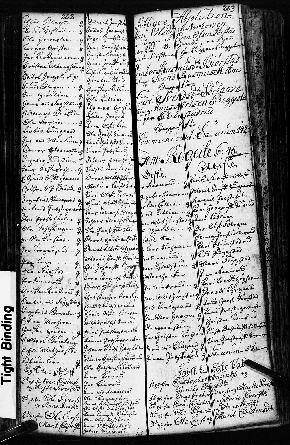 SAH, Fåberg prestekontor, Klokkerbok nr. 2, 1741-1756, s. 262-263