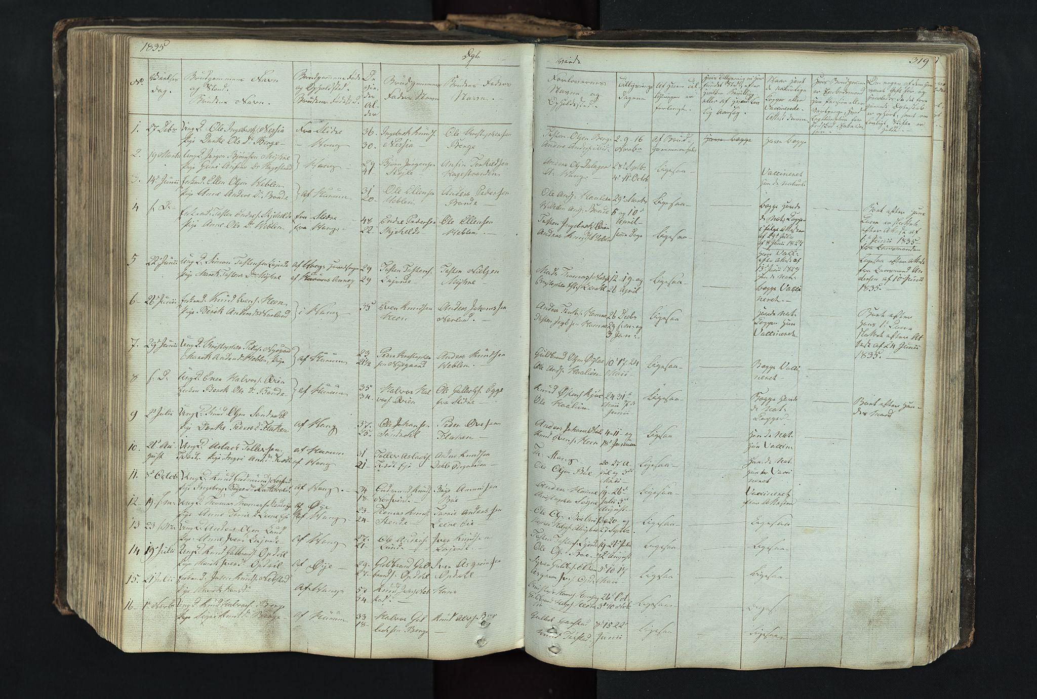 SAH, Vang prestekontor, Valdres, Klokkerbok nr. 4, 1835-1892, s. 319