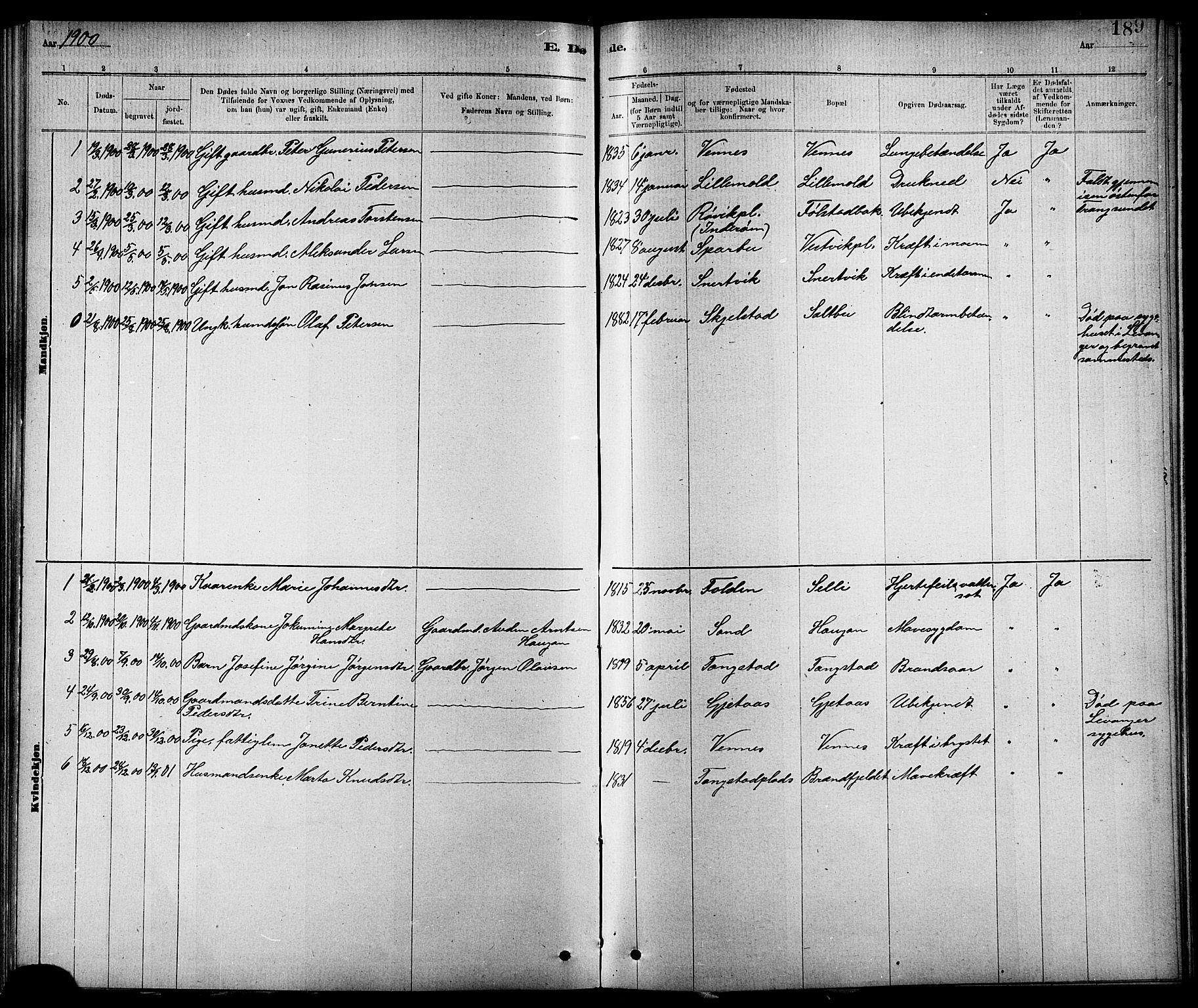 SAT, Ministerialprotokoller, klokkerbøker og fødselsregistre - Nord-Trøndelag, 744/L0423: Klokkerbok nr. 744C02, 1886-1905, s. 189