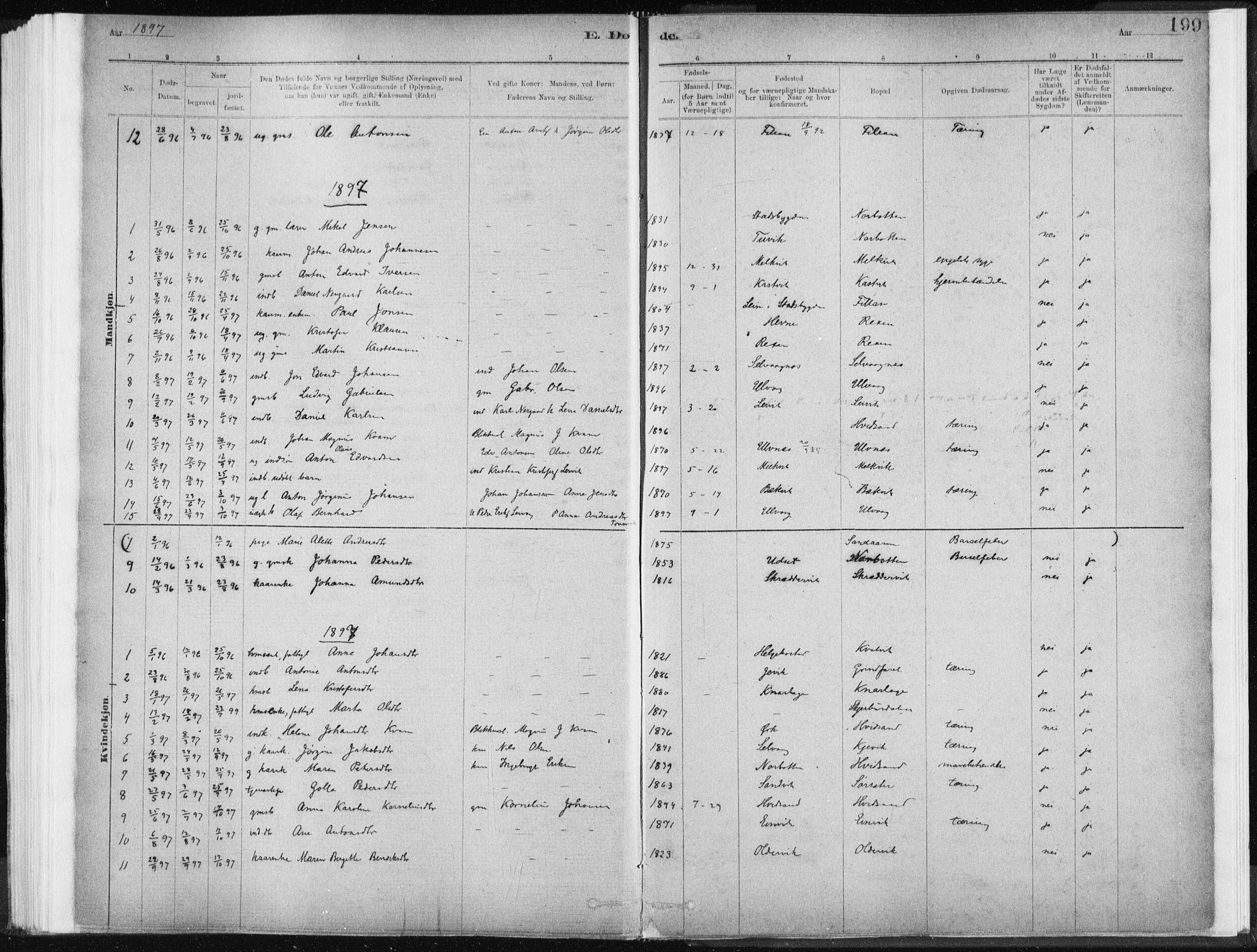 SAT, Ministerialprotokoller, klokkerbøker og fødselsregistre - Sør-Trøndelag, 637/L0558: Ministerialbok nr. 637A01, 1882-1899, s. 199