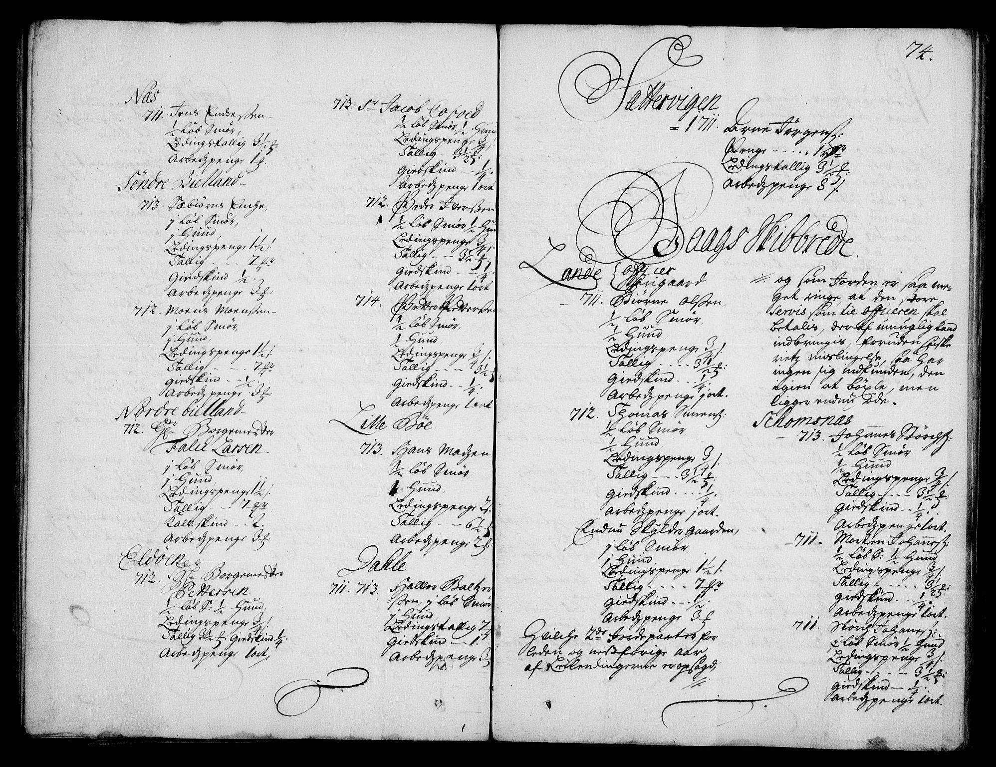 RA, Rentekammeret inntil 1814, Realistisk ordnet avdeling, On/L0003: [Jj 4]: Kommisjonsforretning over Vilhelm Hanssøns forpaktning av Halsnøy klosters gods, 1712-1722, s. 73b-74a
