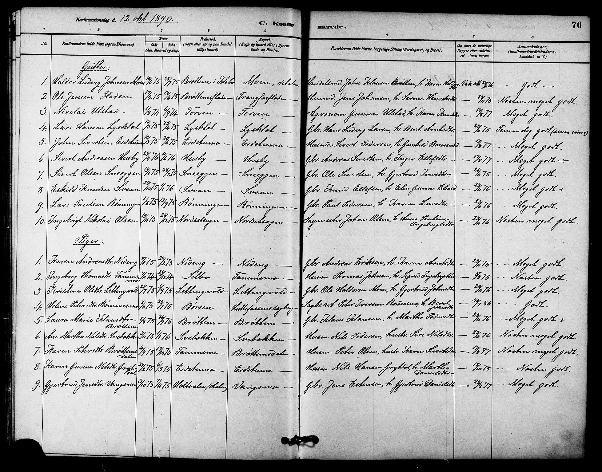 SAT, Ministerialprotokoller, klokkerbøker og fødselsregistre - Sør-Trøndelag, 618/L0444: Ministerialbok nr. 618A07, 1880-1898, s. 76