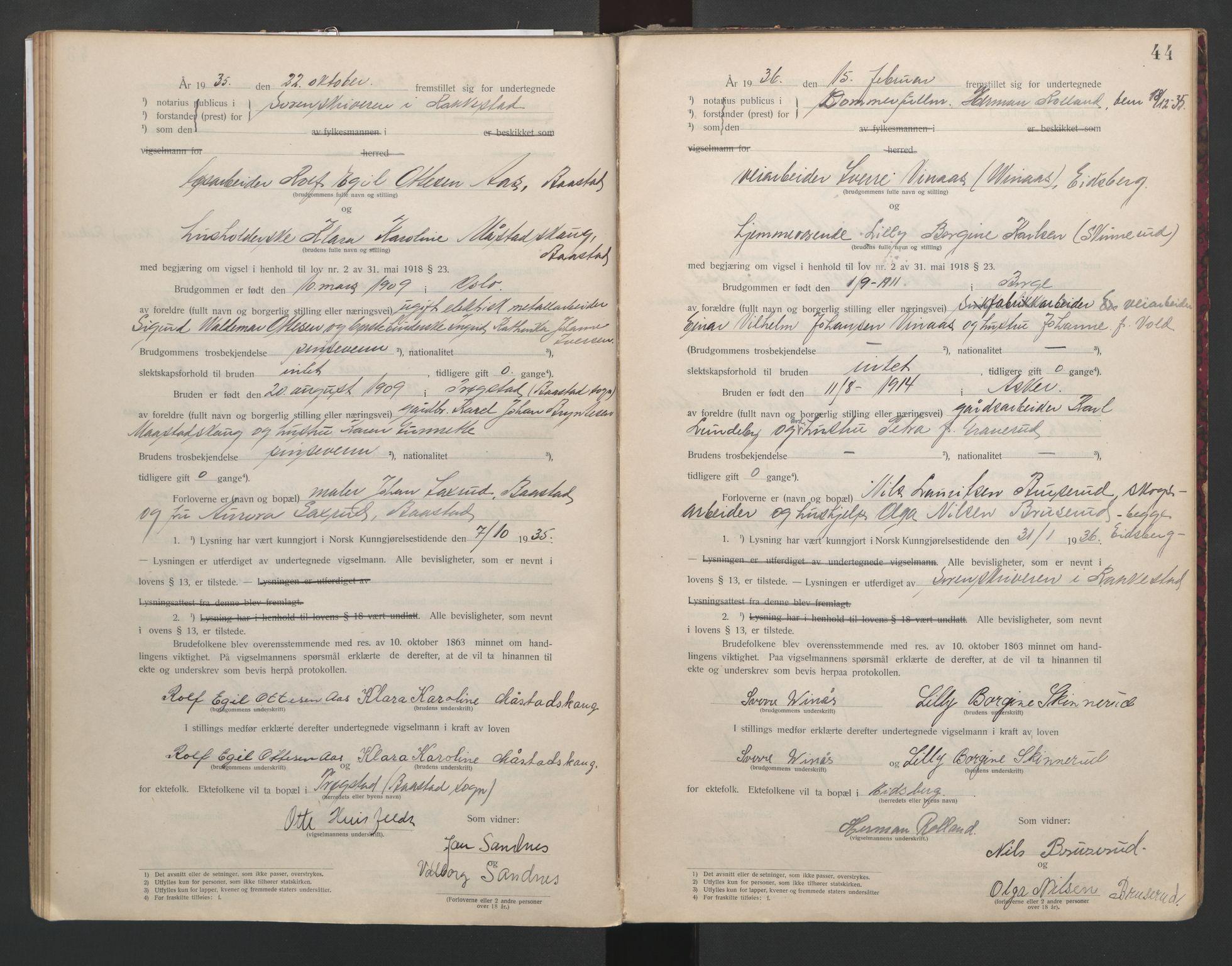 SAO, Rakkestad sorenskriveri, L/Lc/Lca/L0001: Vigselbøker, 1920-1942, s. 44