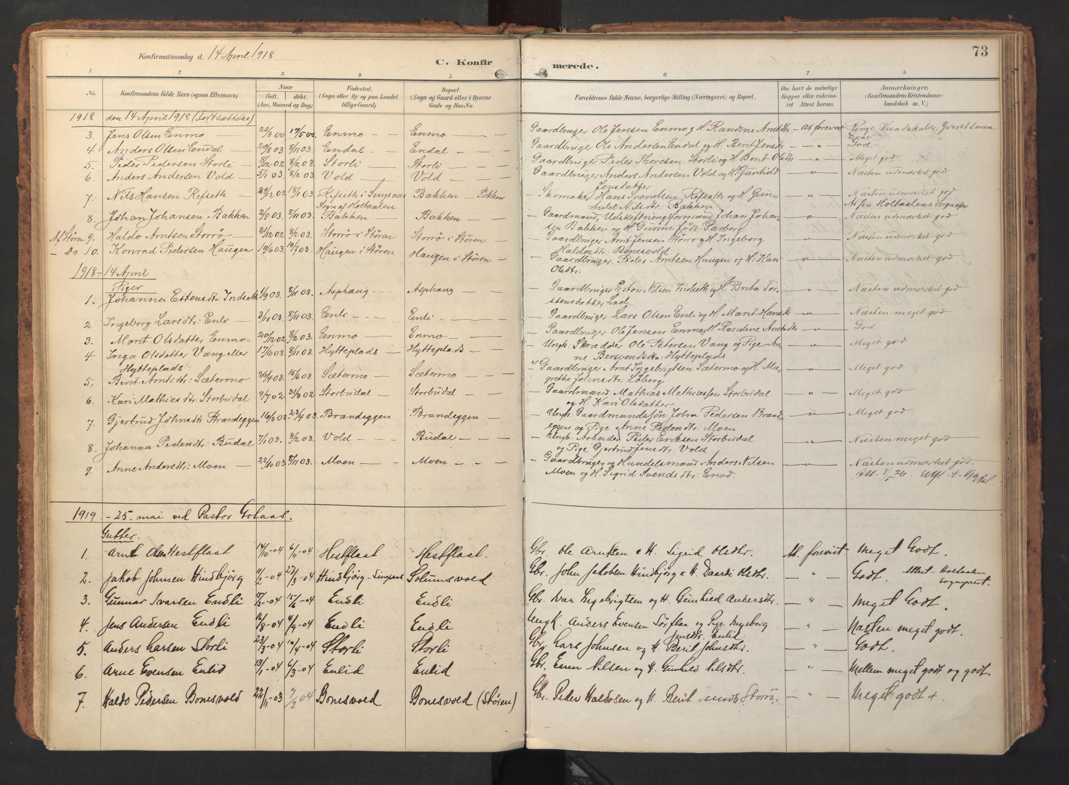SAT, Ministerialprotokoller, klokkerbøker og fødselsregistre - Sør-Trøndelag, 690/L1050: Ministerialbok nr. 690A01, 1889-1929, s. 73