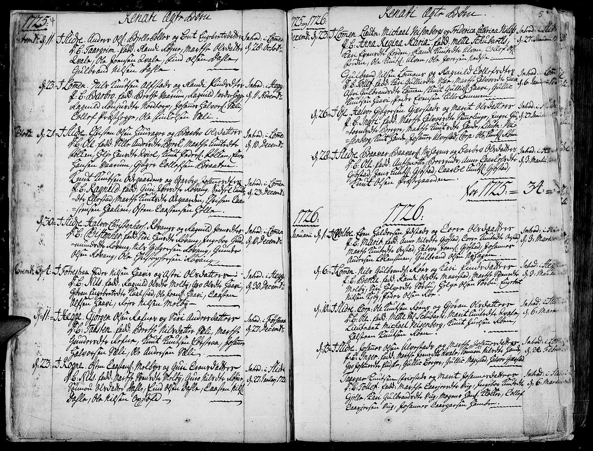 SAH, Slidre prestekontor, Ministerialbok nr. 1, 1724-1814, s. 4-5