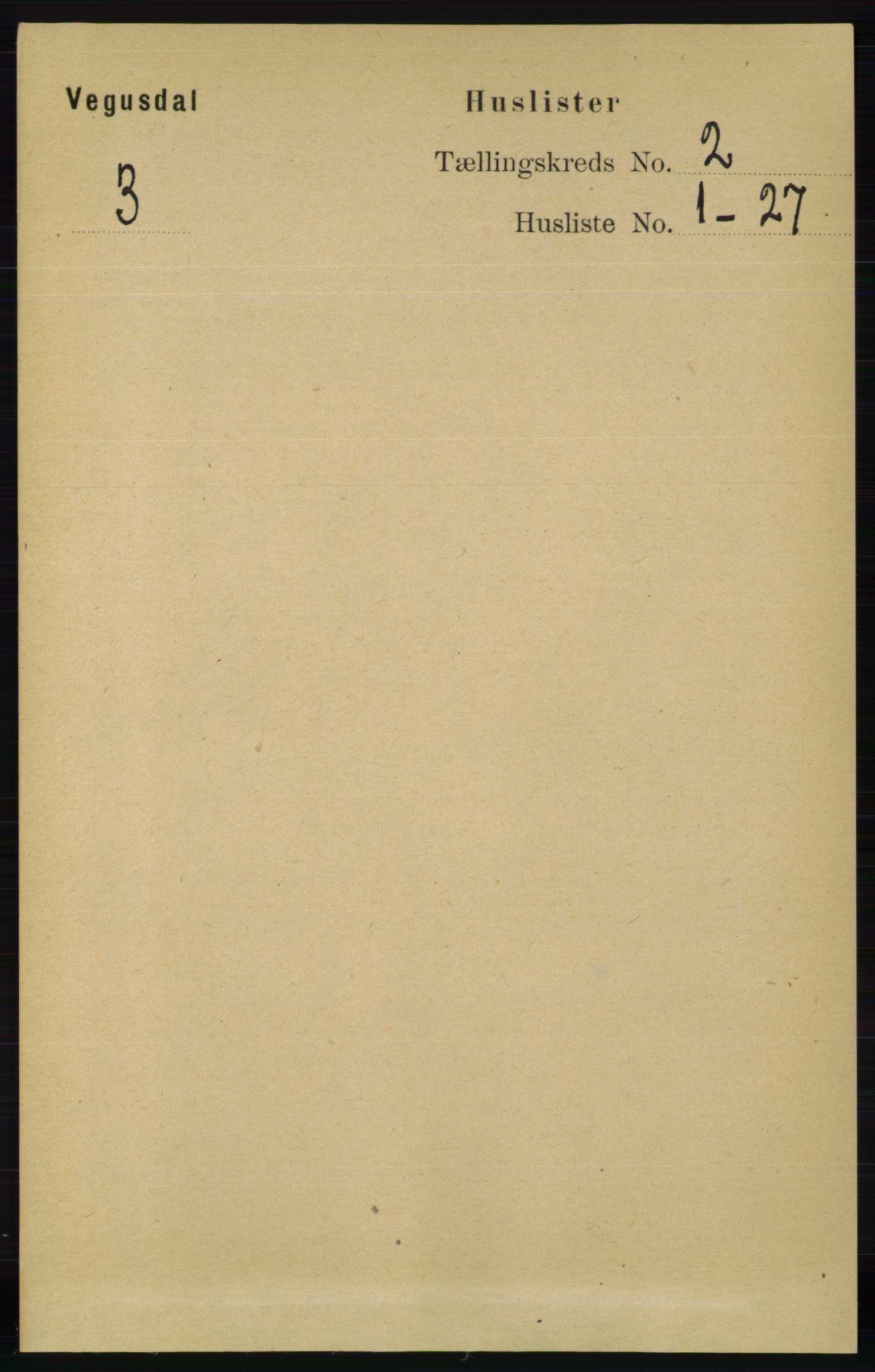 RA, Folketelling 1891 for 0934 Vegusdal herred, 1891, s. 289