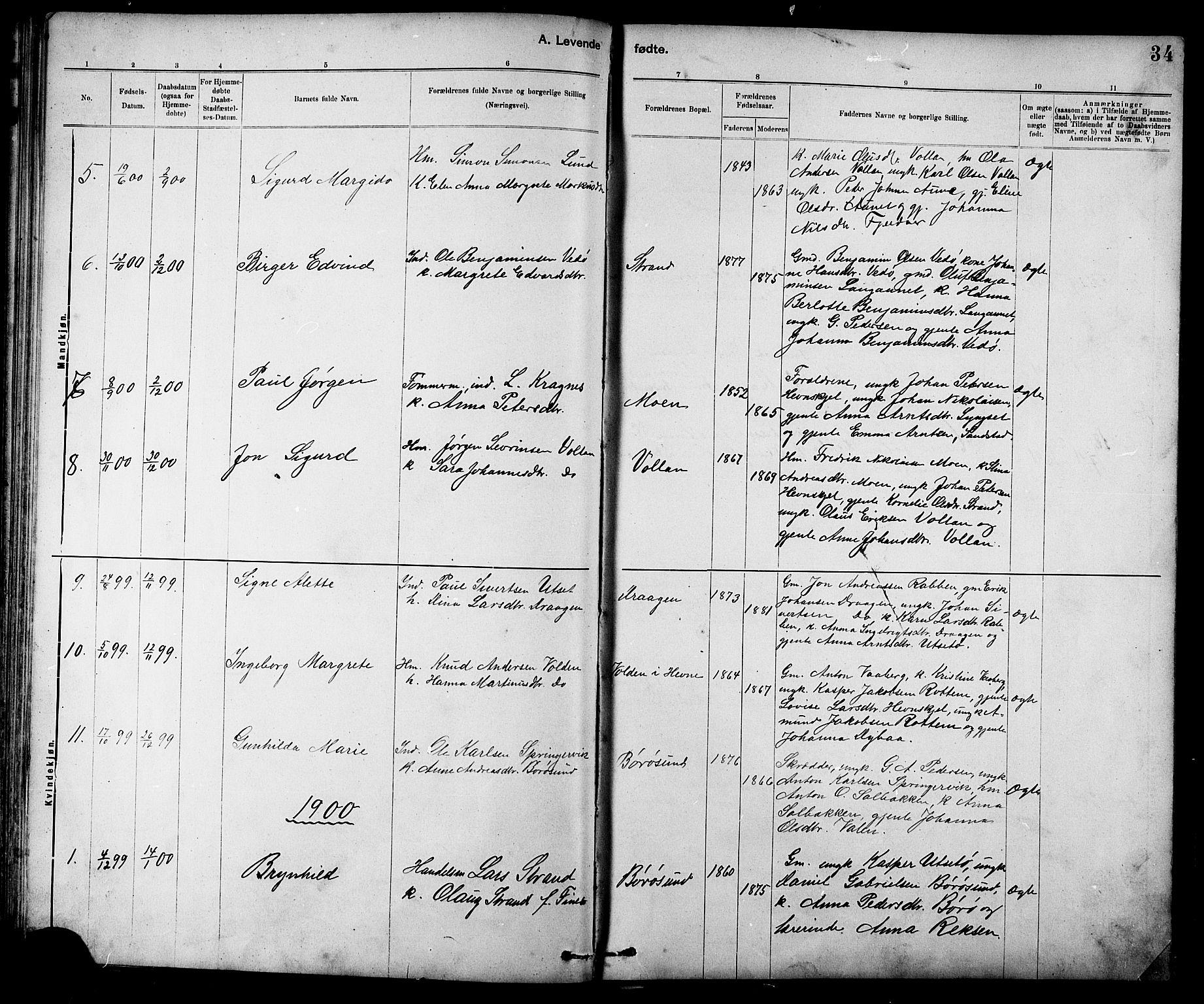 SAT, Ministerialprotokoller, klokkerbøker og fødselsregistre - Sør-Trøndelag, 639/L0573: Klokkerbok nr. 639C01, 1890-1905, s. 34