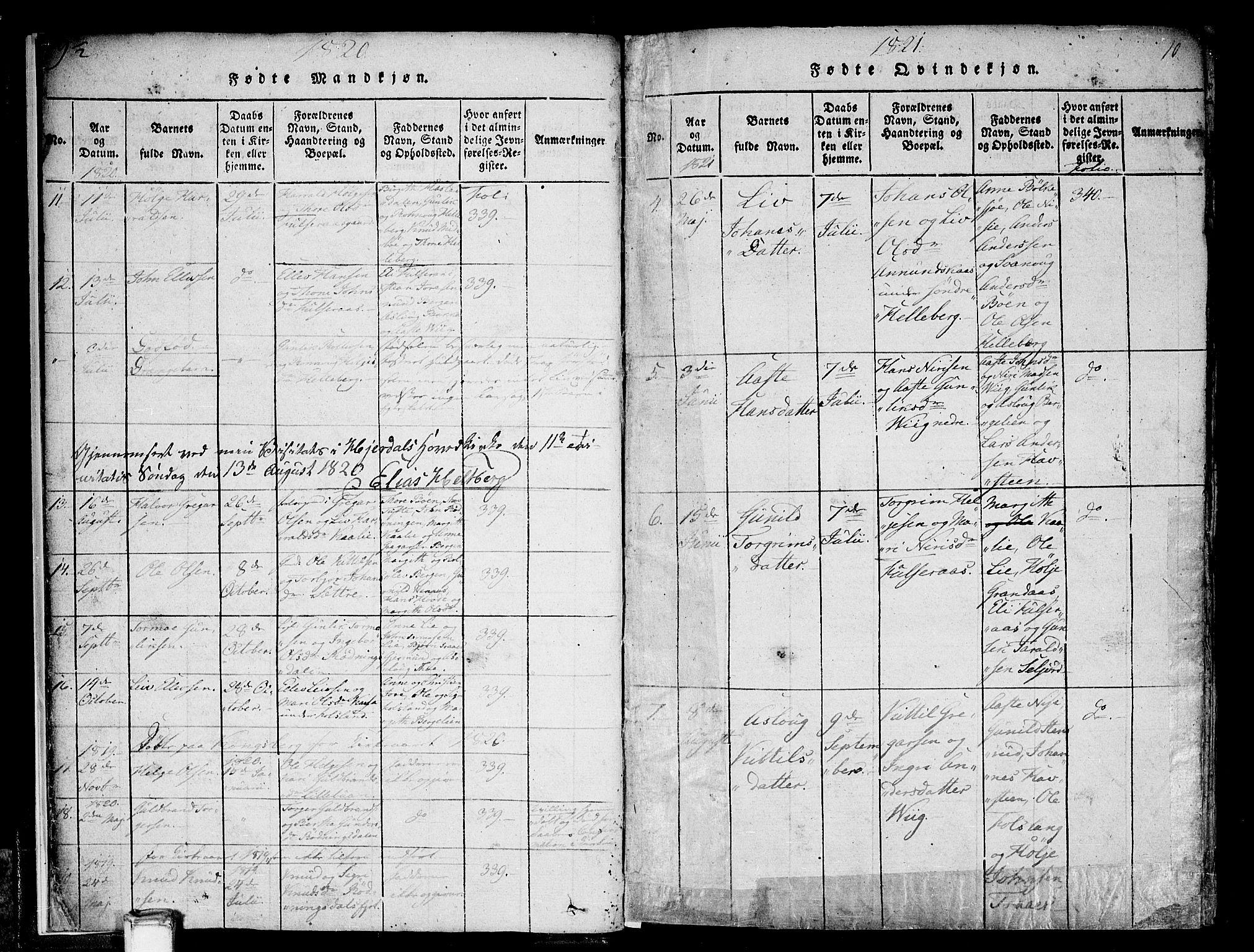 SAKO, Gransherad kirkebøker, F/Fa/L0001: Ministerialbok nr. I 1, 1815-1843, s. 10