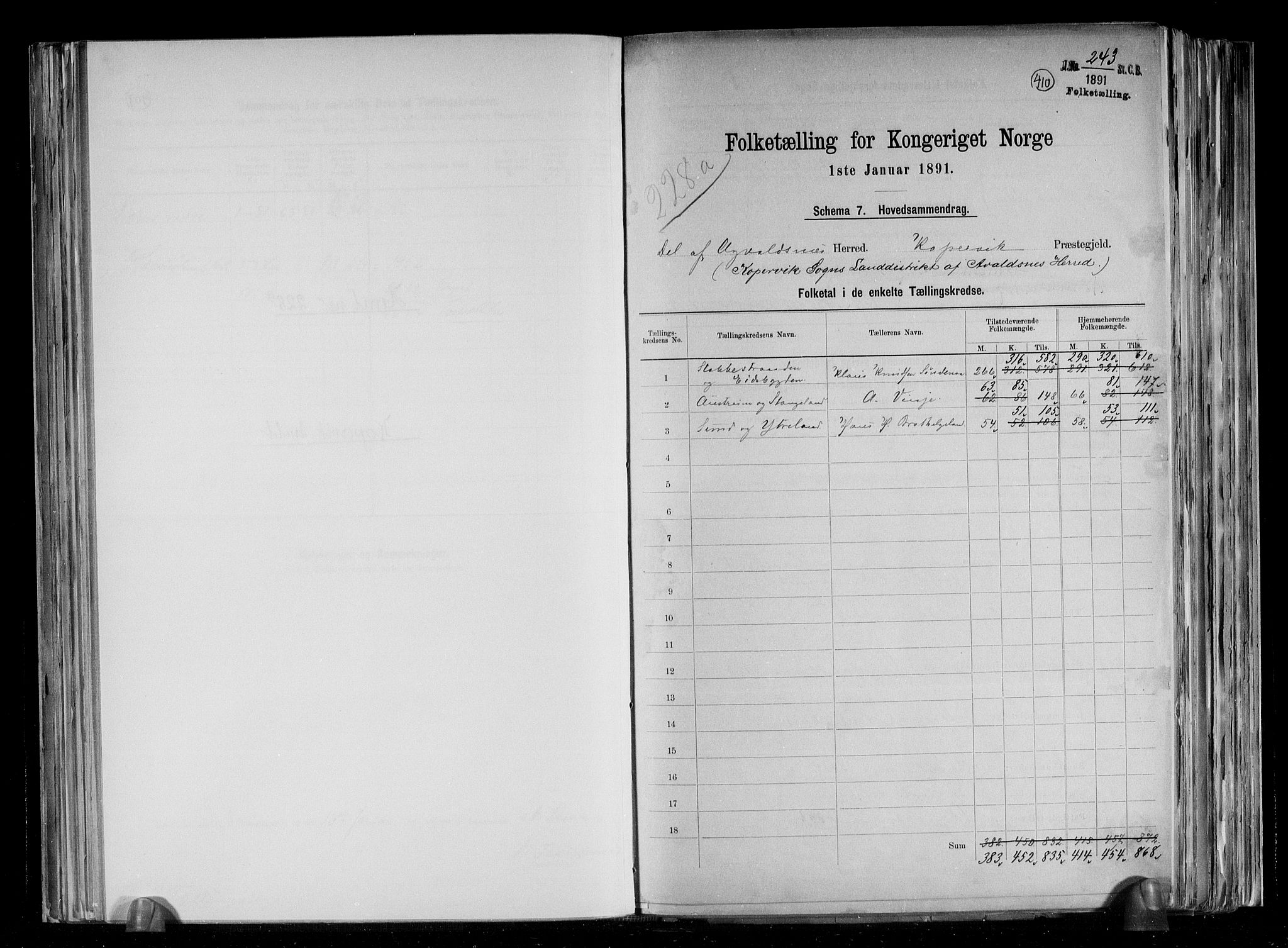 RA, Folketelling 1891 for 1147 Avaldsnes herred, 1891, s. 2